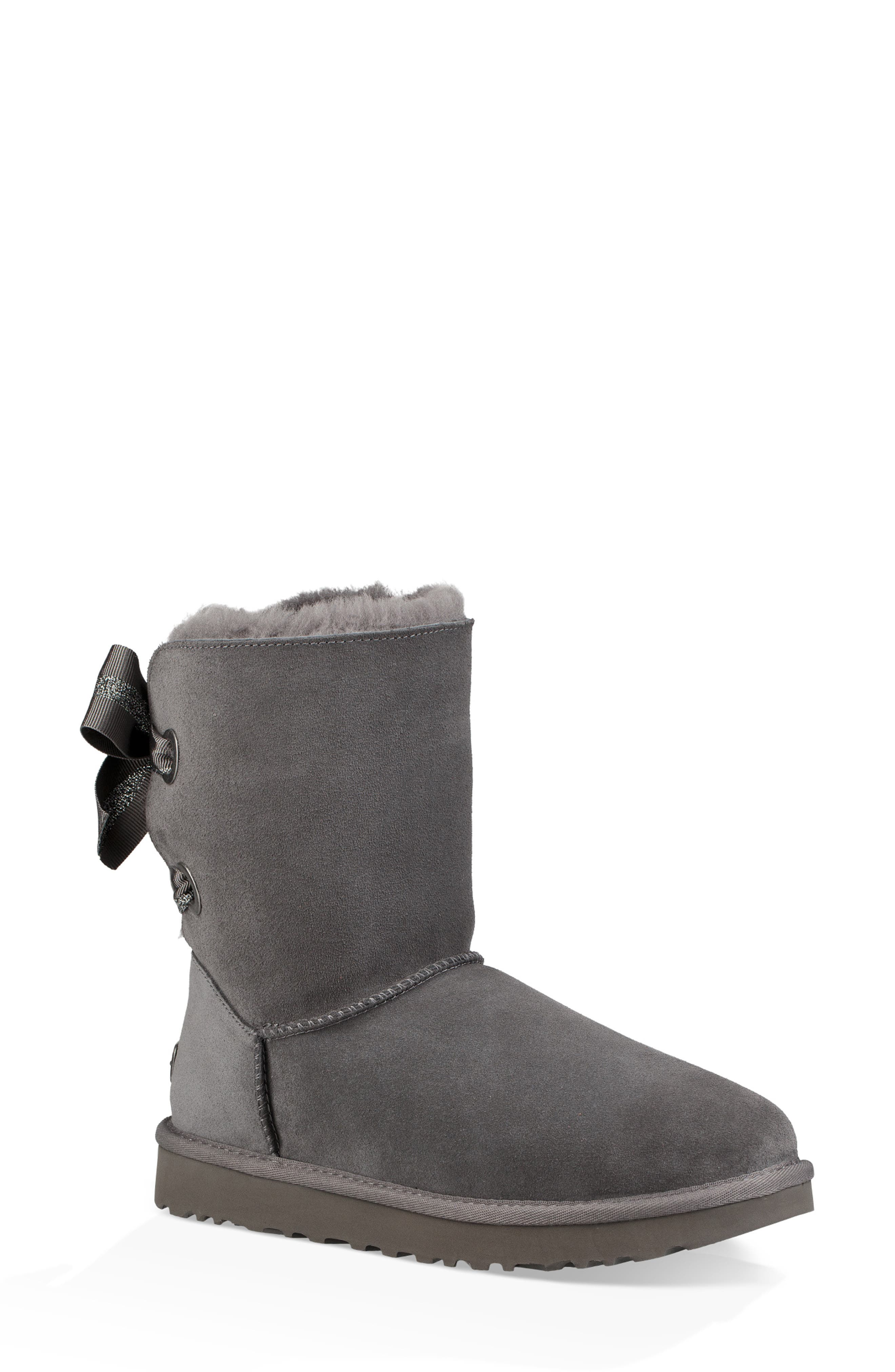 Customizable Bailey Bow Genuine Shearling Bootie,                             Main thumbnail 1, color,                             CHARCOAL SUEDE