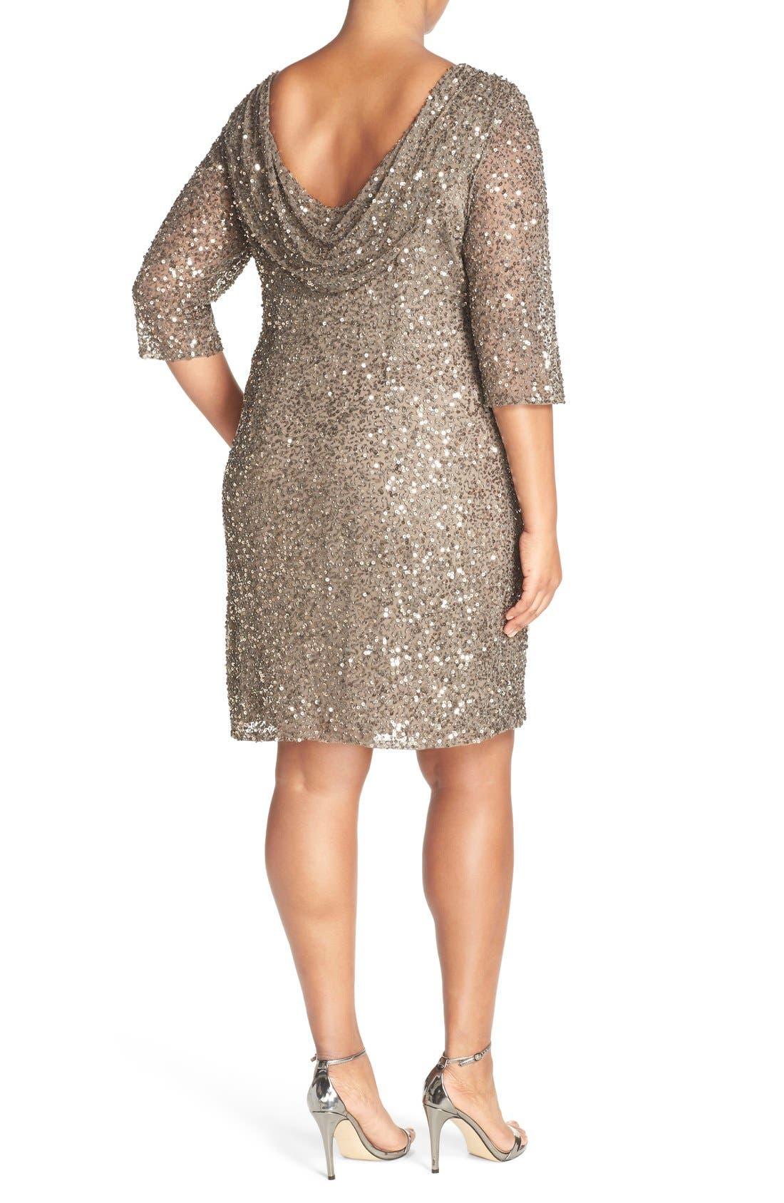 Draped Back Beaded Dress,                             Alternate thumbnail 3, color,                             MOCHA