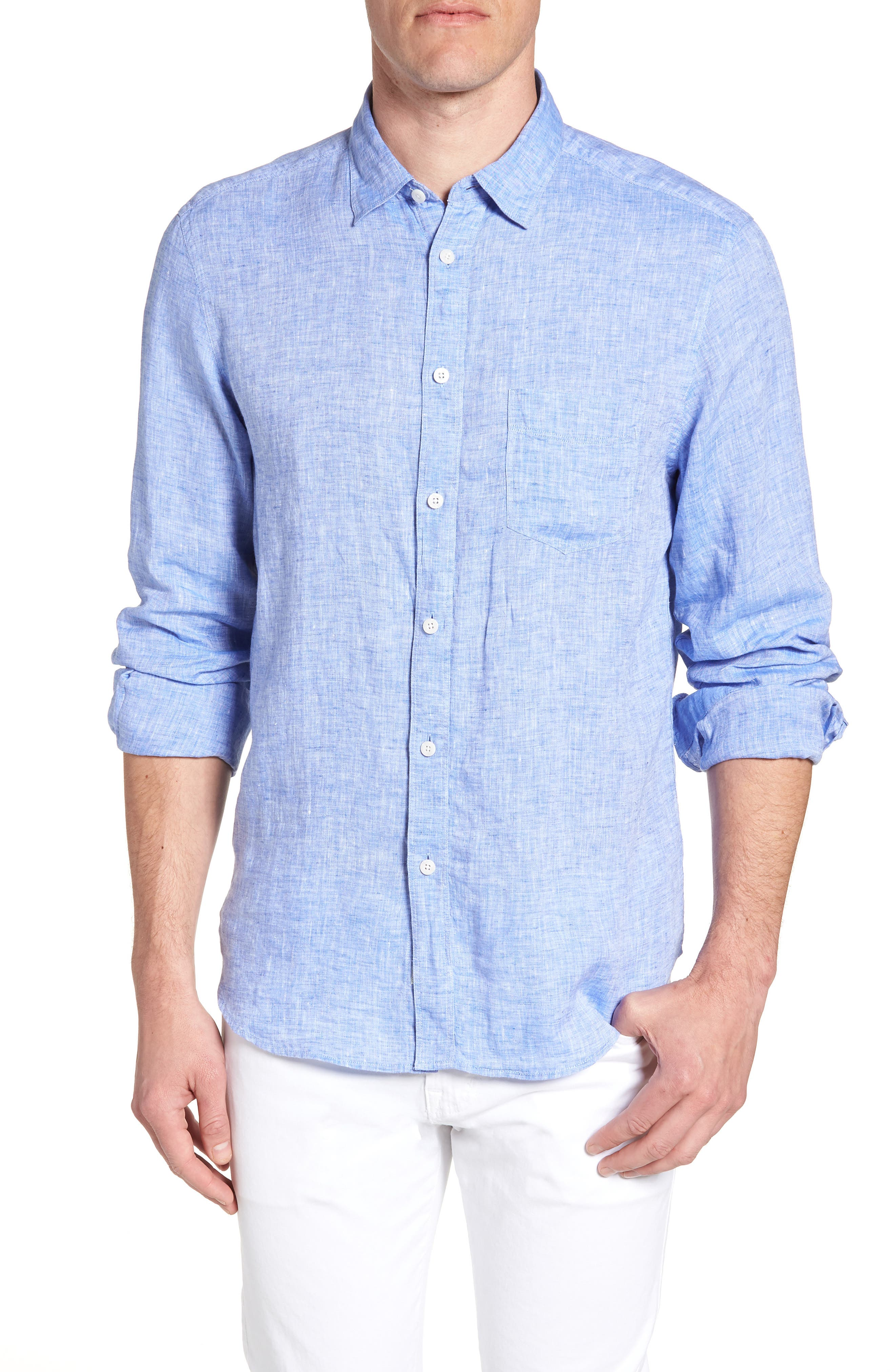 Regular Fit Solid Linen Sport Shirt,                             Main thumbnail 2, color,