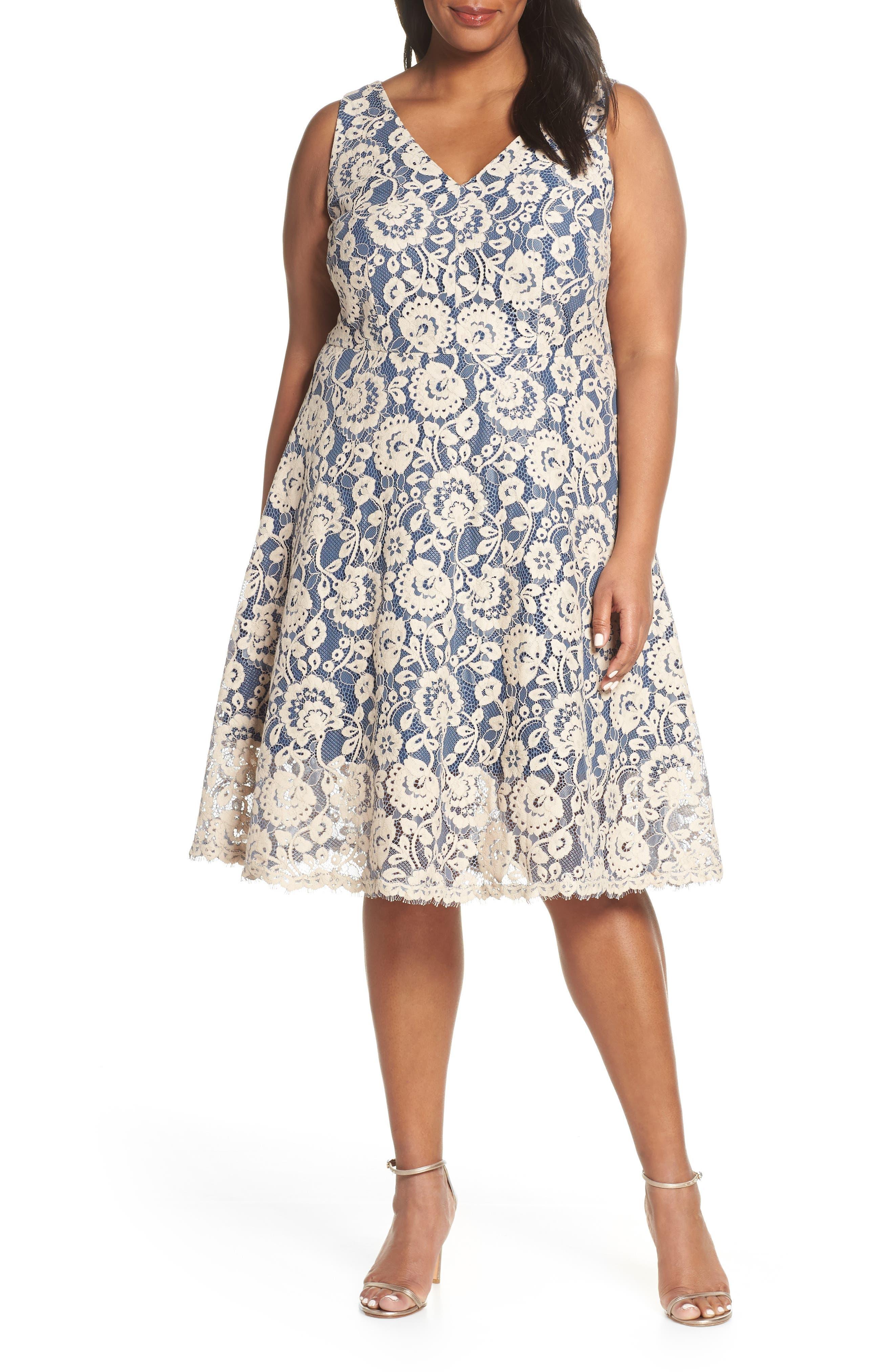 Plus Size Vince Camuto Lace V-Neck Fit & Flare Dress, Blue