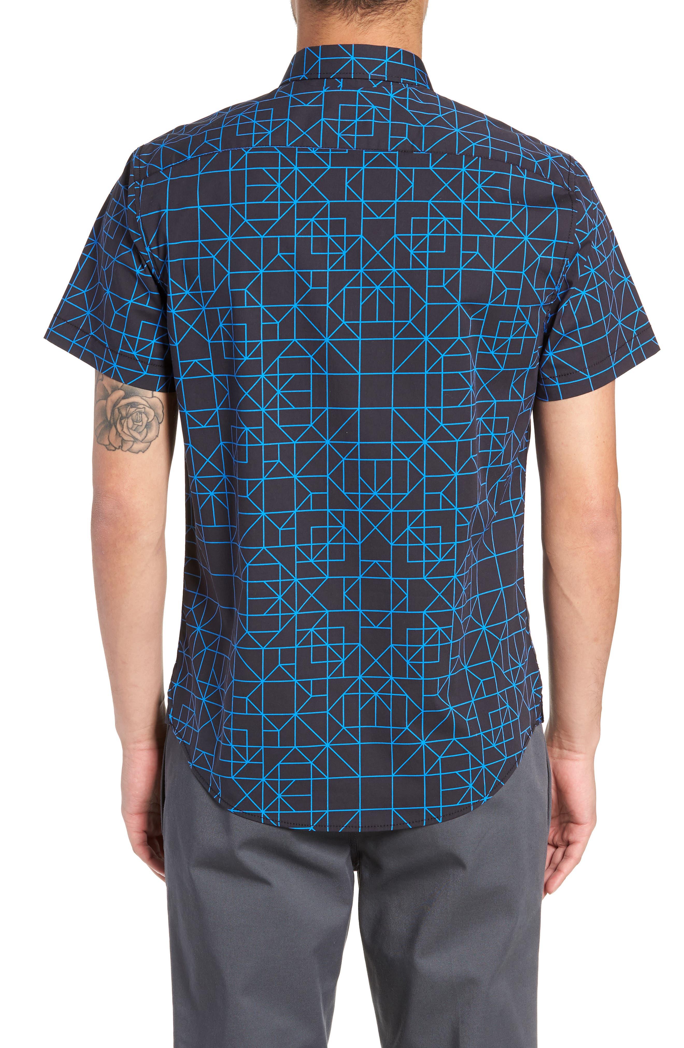 Print Sport Shirt,                             Alternate thumbnail 2, color,                             BLACK BLUE GRID GEO