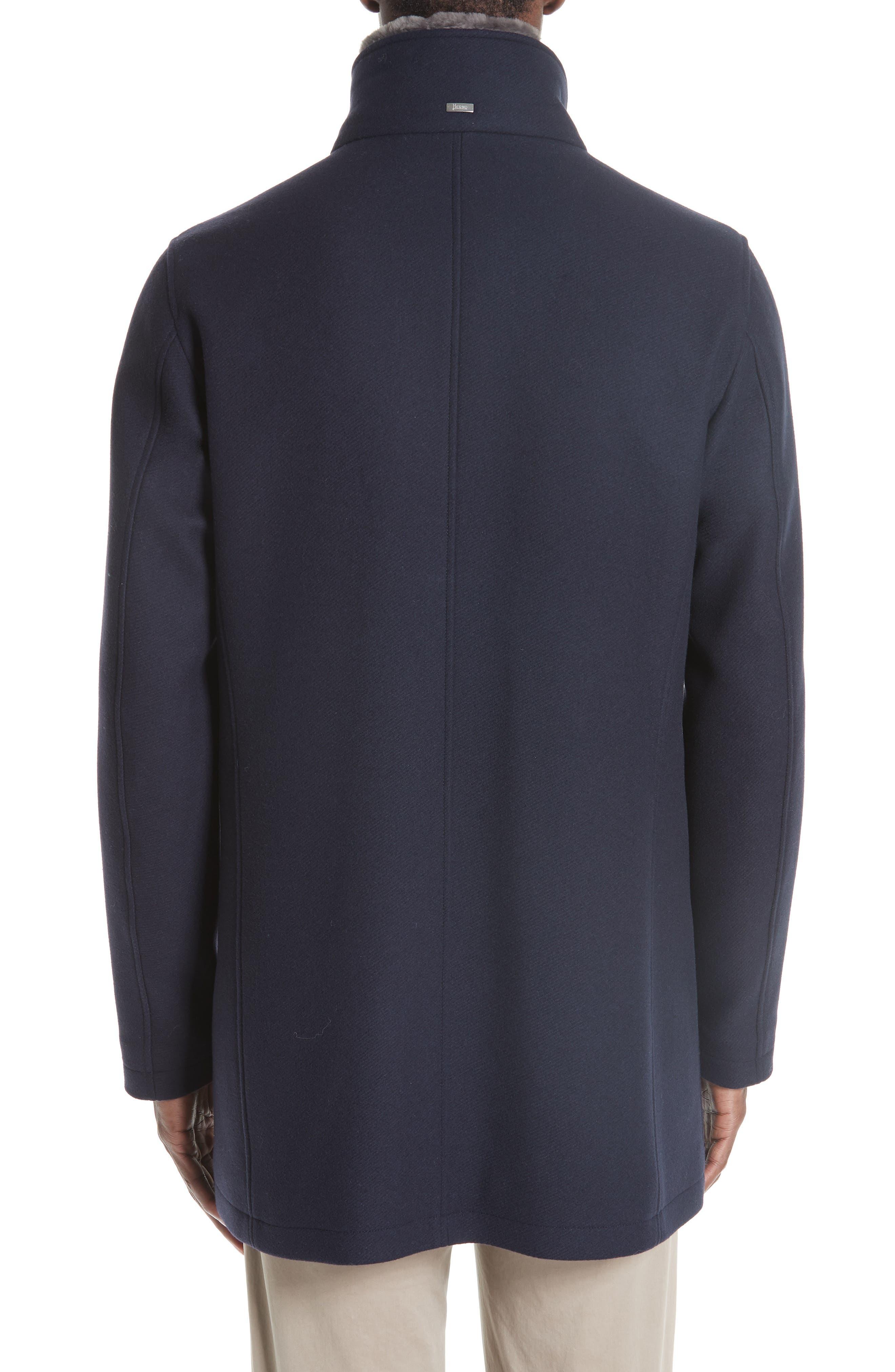 Genuine Beaver Fur Collar Wool Blend Coat,                             Alternate thumbnail 2, color,                             NAVY