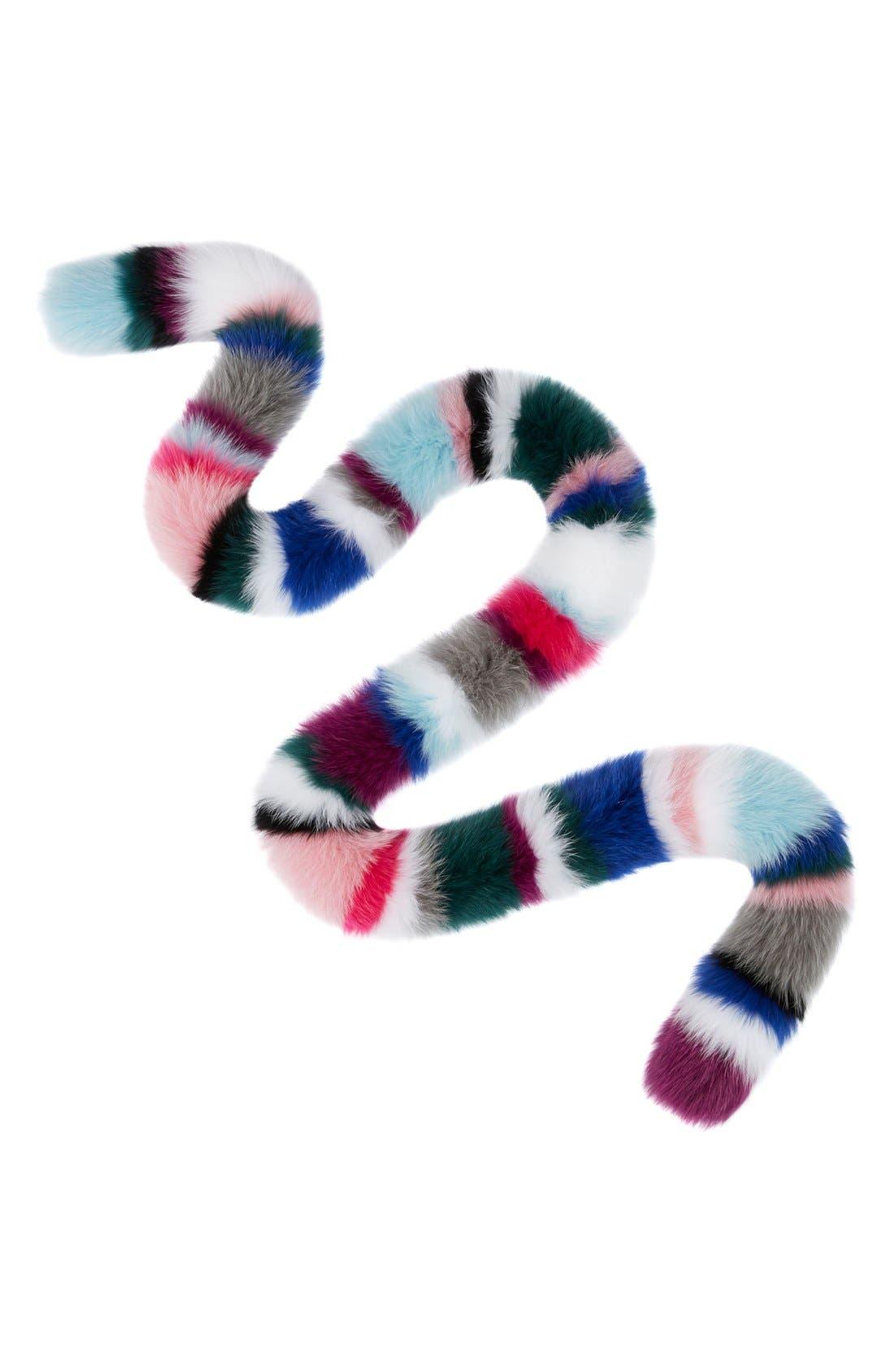 Rainbow Twist Genuine Fox Fur Stole,                             Main thumbnail 2, color,