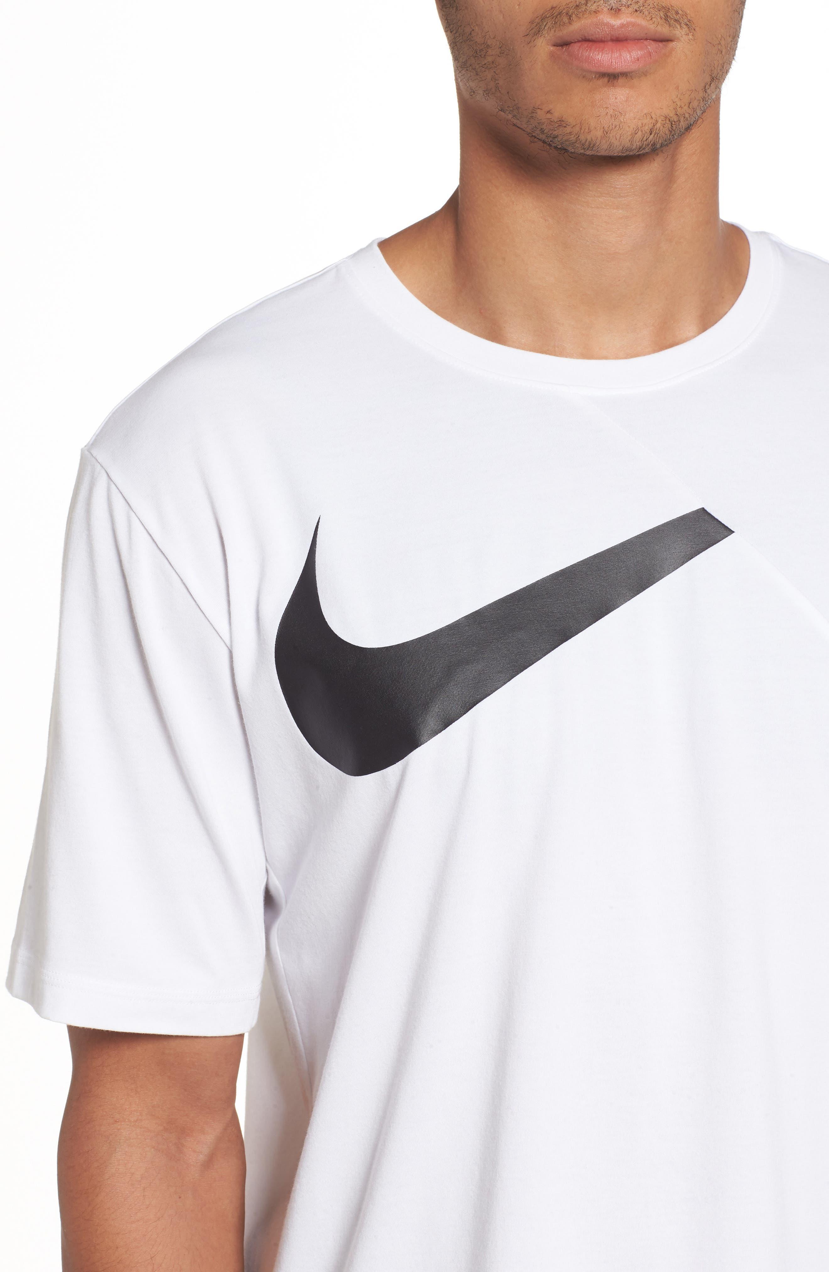 NIKE,                             Dry Performance T-Shirt,                             Alternate thumbnail 4, color,                             WHITE/ BLACK