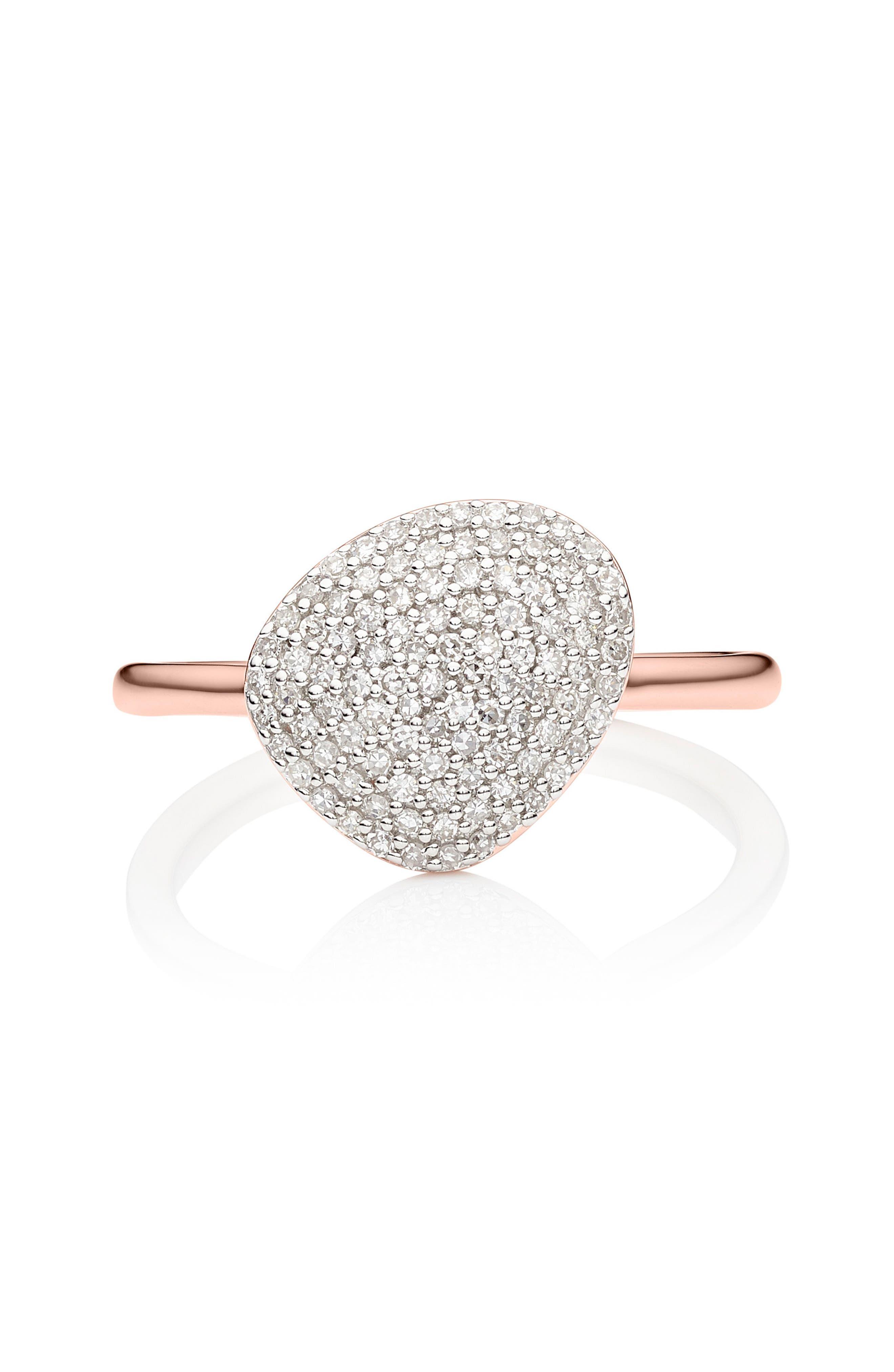 Nura Diamond Pebble Ring,                             Alternate thumbnail 3, color,                             ROSE GOLD/ DIAMOND