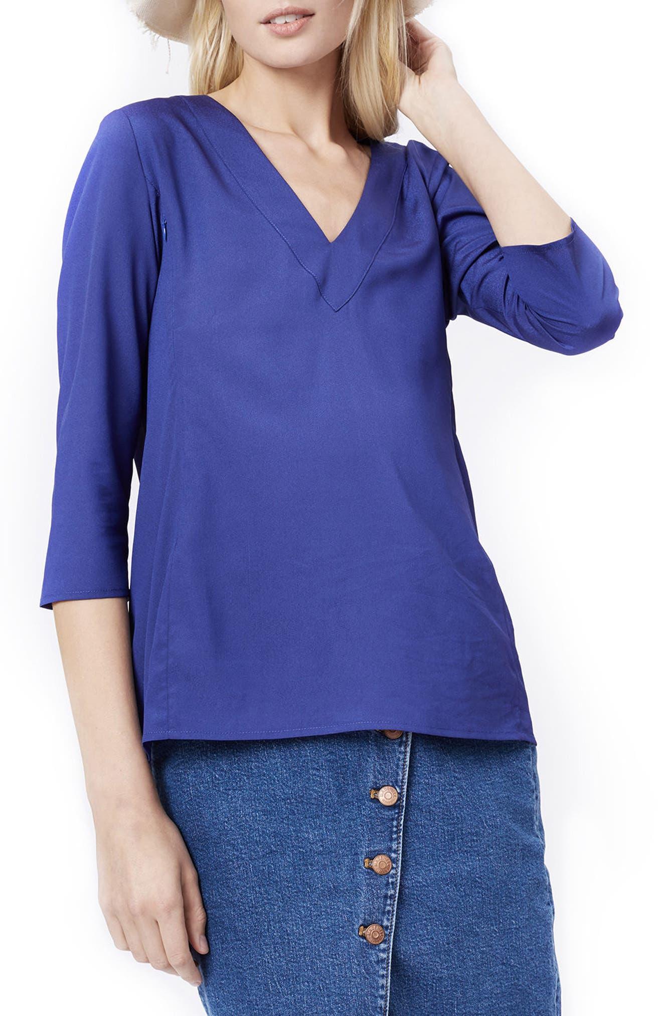 Alice Maternity Blouse,                         Main,                         color, BLUE