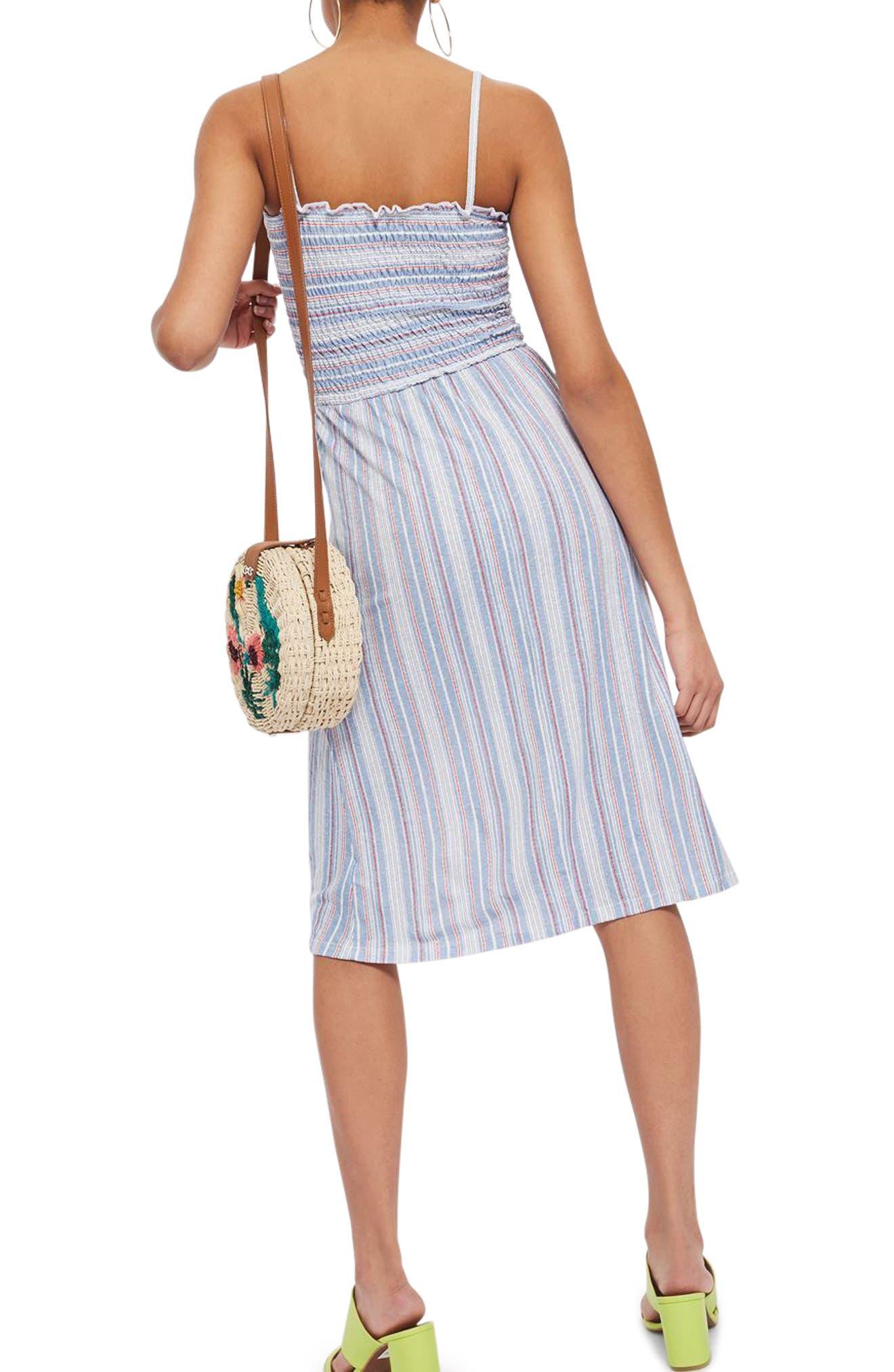 Stripe Shirred Midi Dress,                             Alternate thumbnail 2, color,                             400