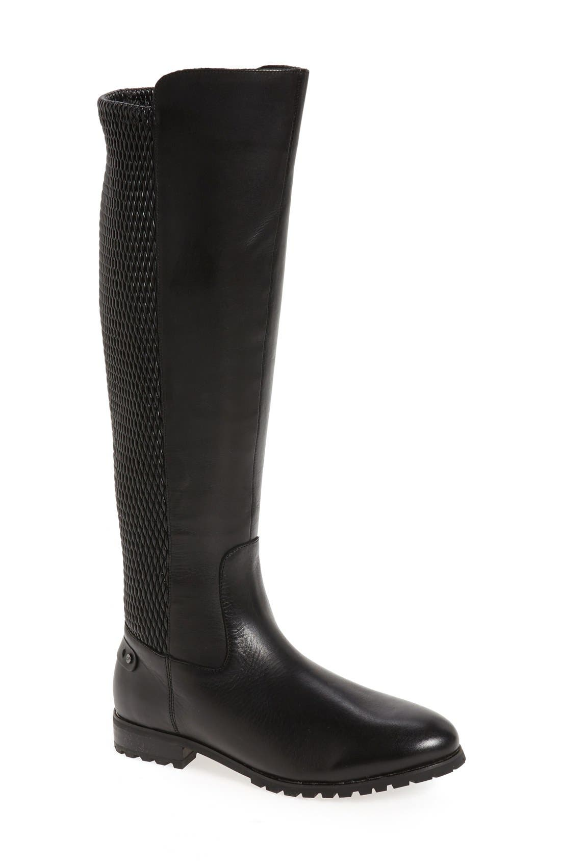 'Fabiana' Tall Boot,                             Main thumbnail 1, color,                             BLACK LEATHER