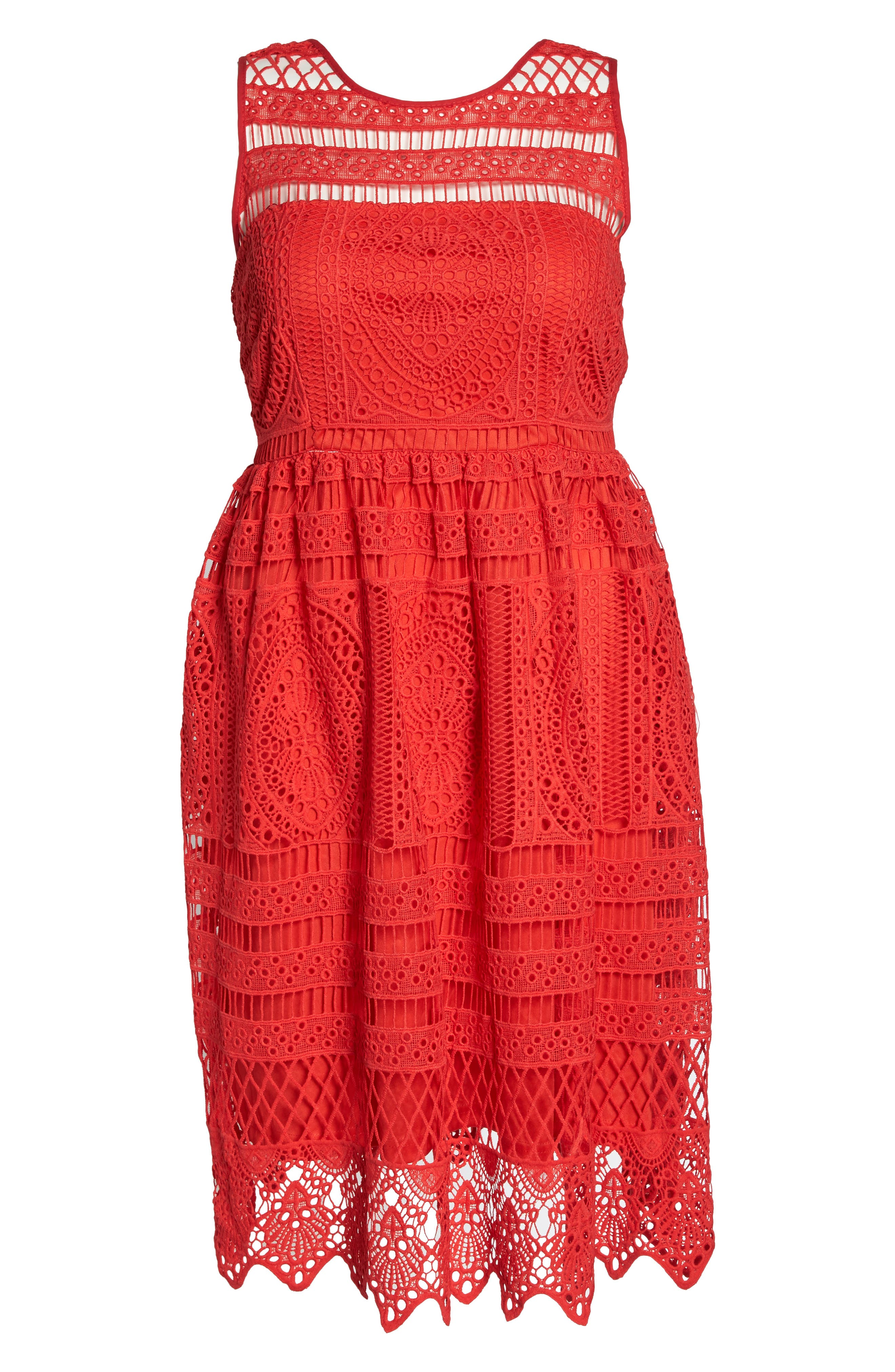 Eyelet Lace Fit & Flare Dress,                             Alternate thumbnail 6, color,                             600