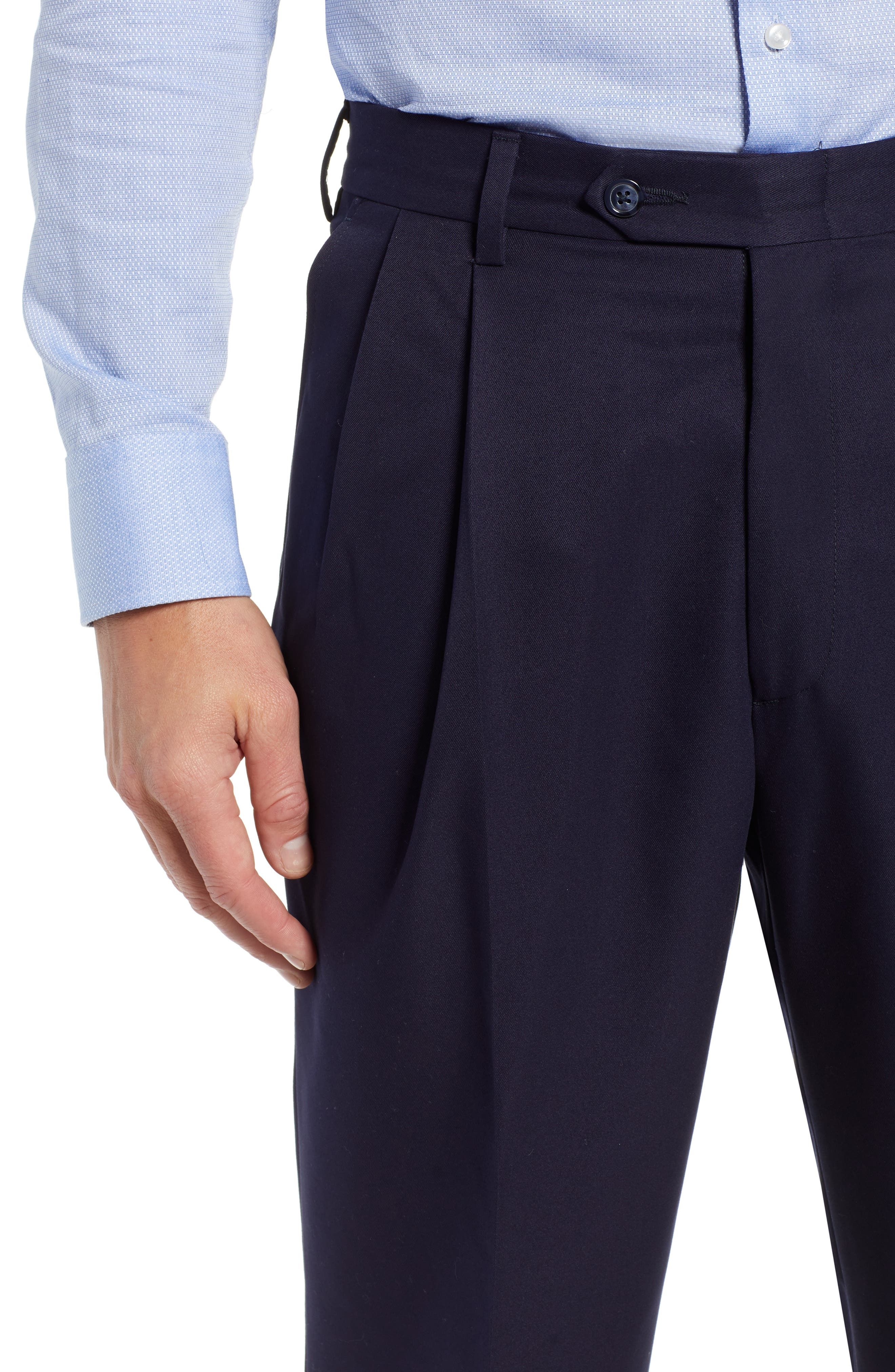 Classic Fit Pleated Microfiber Performance Trousers,                             Alternate thumbnail 4, color,                             NAVY