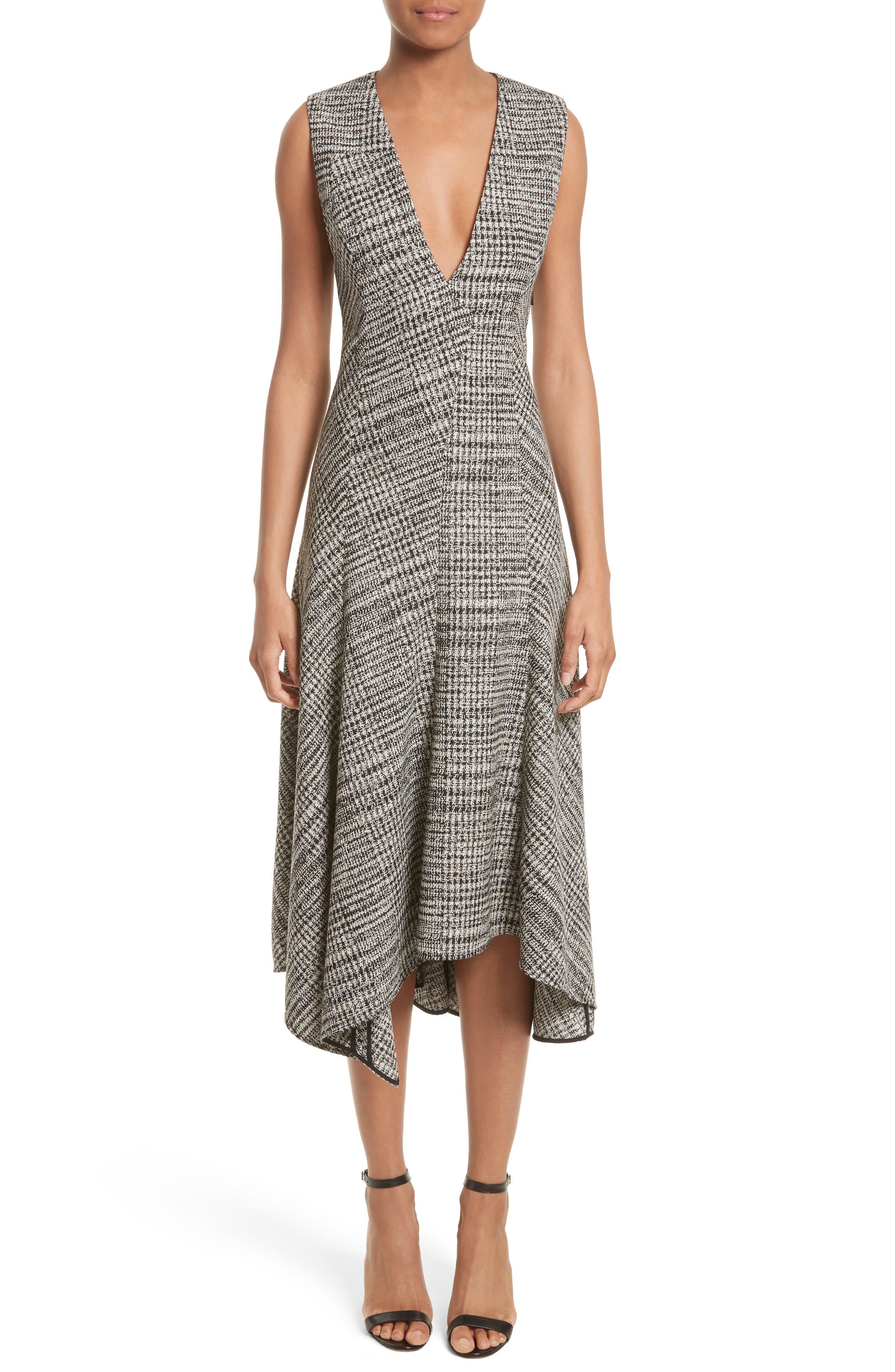 Check Wool Fit & Flare Dress,                             Main thumbnail 1, color,                             001