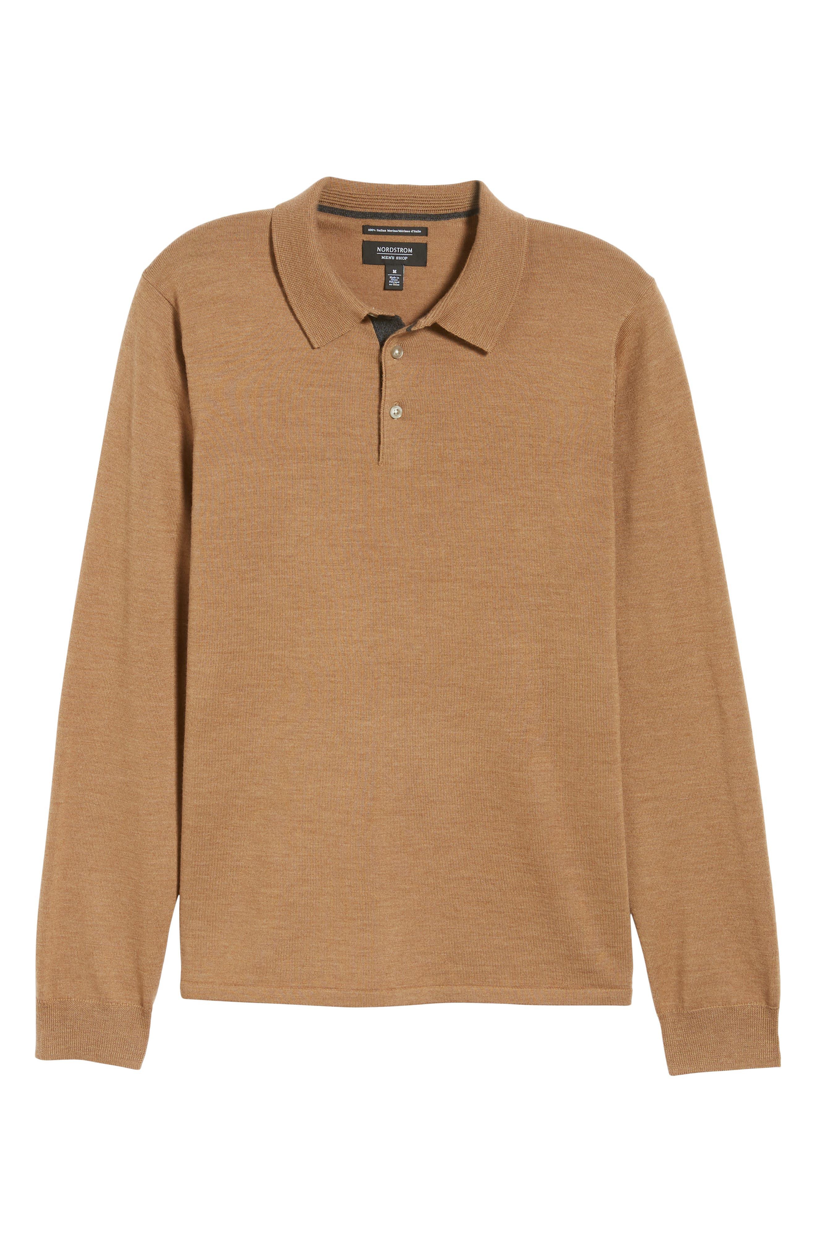 NORDSTROM MEN'S SHOP,                             Merino Wool Polo Sweater,                             Alternate thumbnail 6, color,                             211
