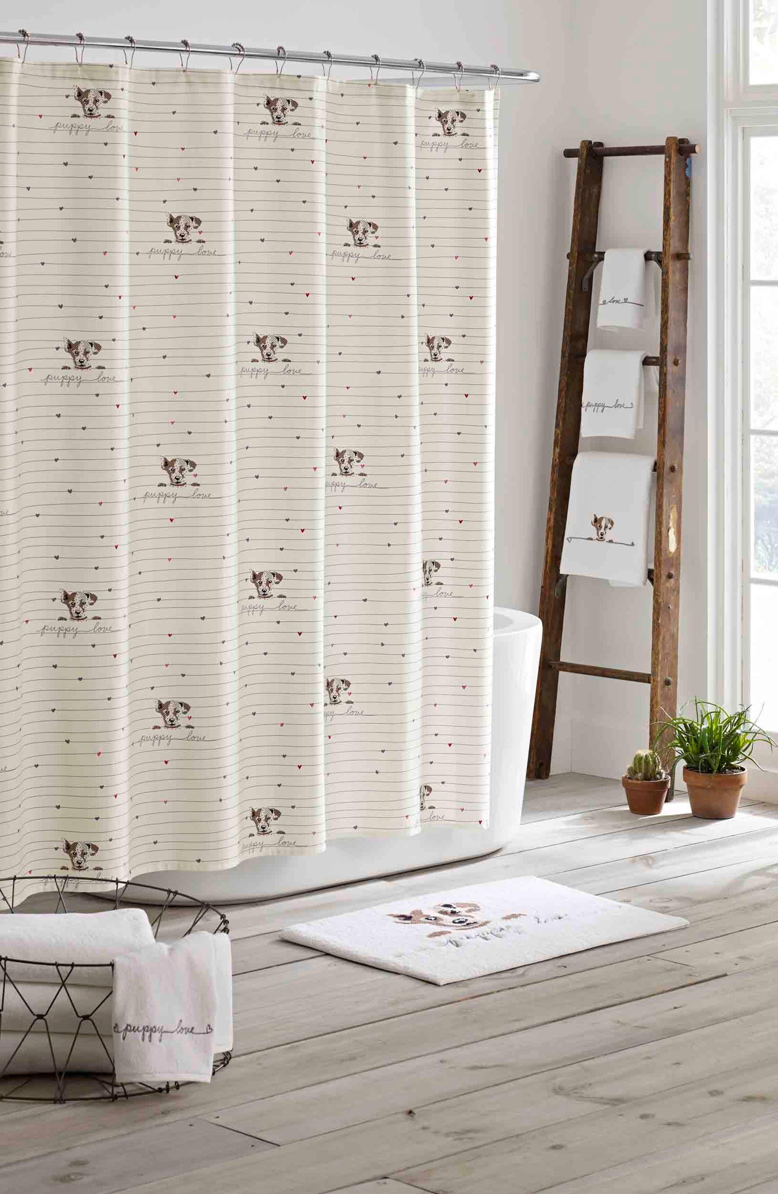 Puppy Love Shower Curtain, Main, color, WHITE BEIGE