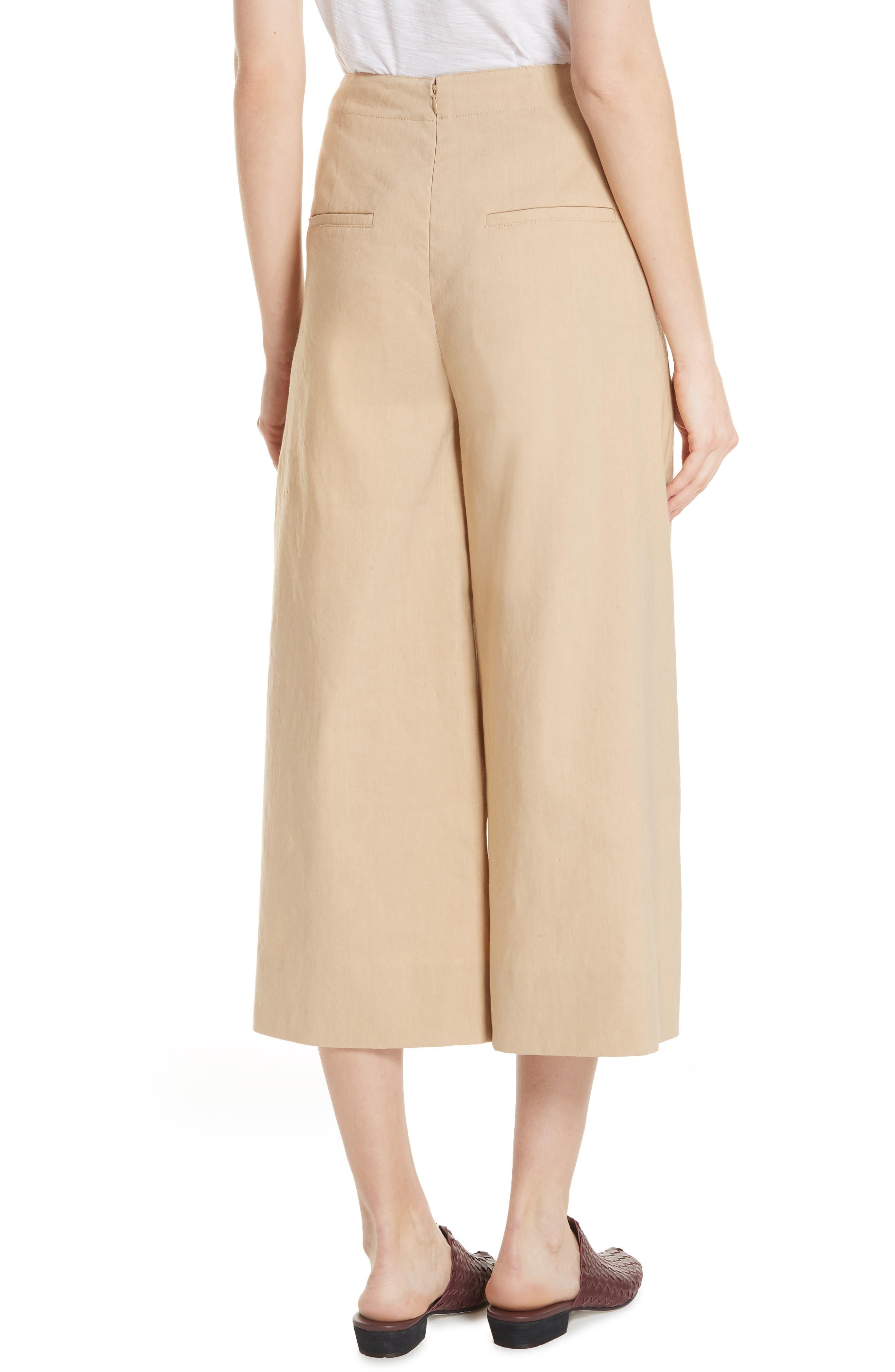 High Rise Linen Blend Culottes,                             Alternate thumbnail 2, color,                             KHAKI