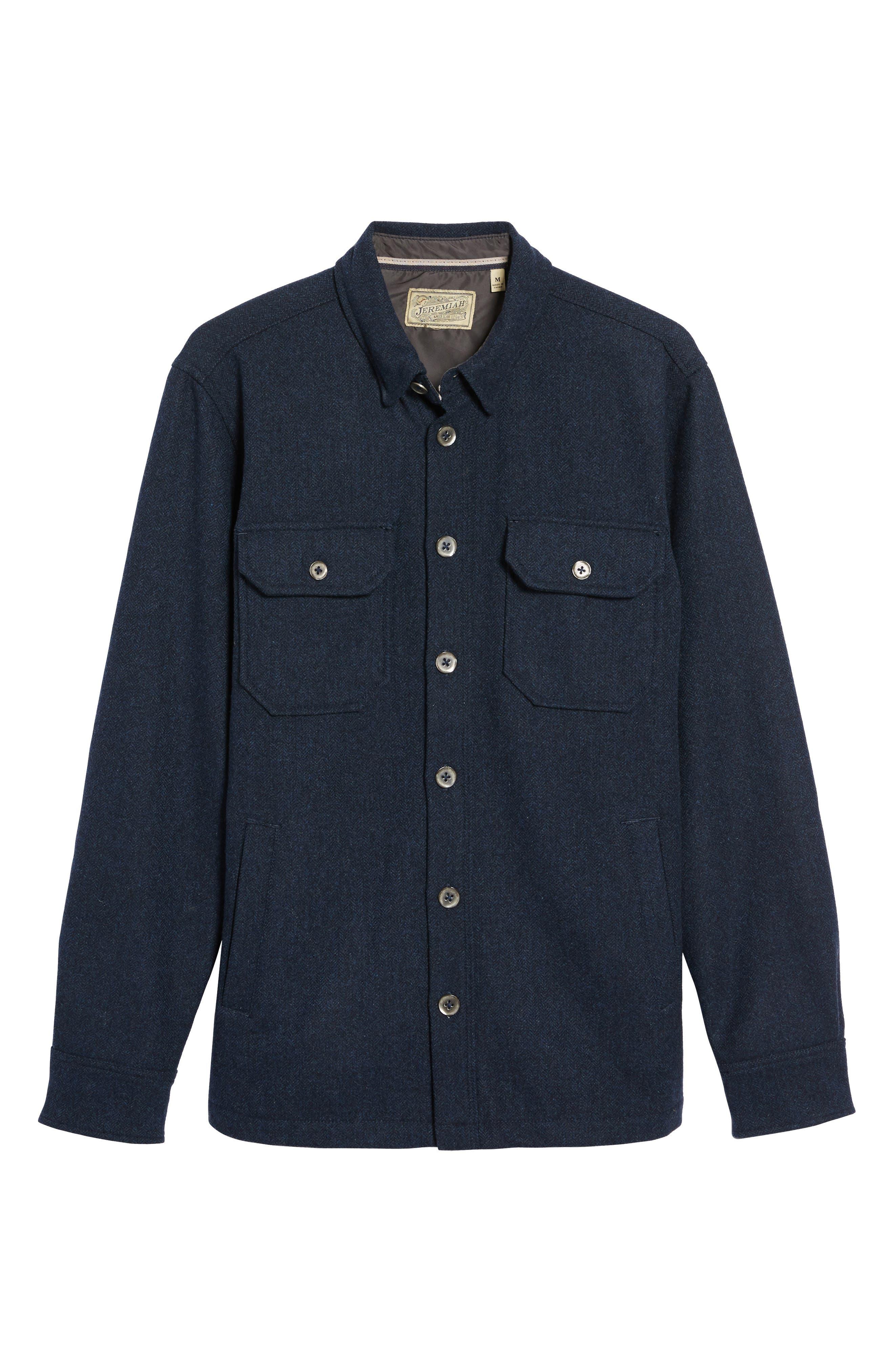 Creek Herringbone Wool Shirt Jacket,                             Alternate thumbnail 5, color,
