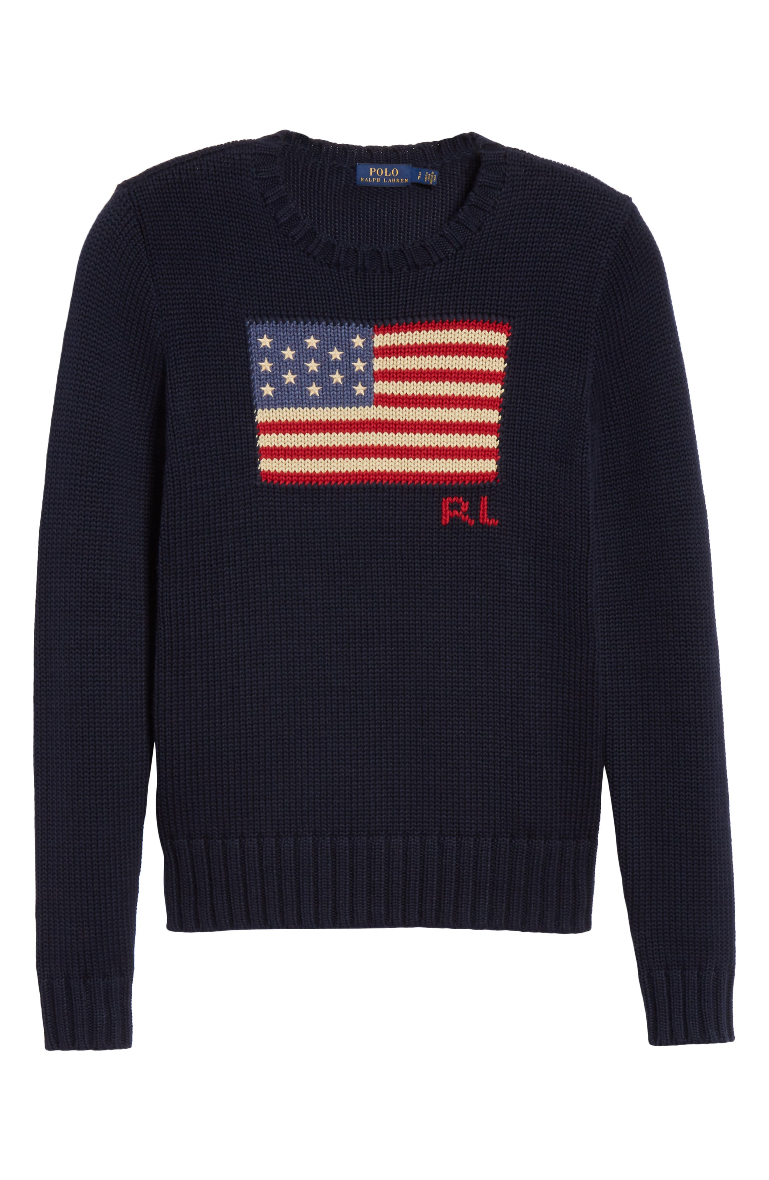 Flag Sweater,                             Alternate thumbnail 6, color,                             HUNTER NAVY MULTI