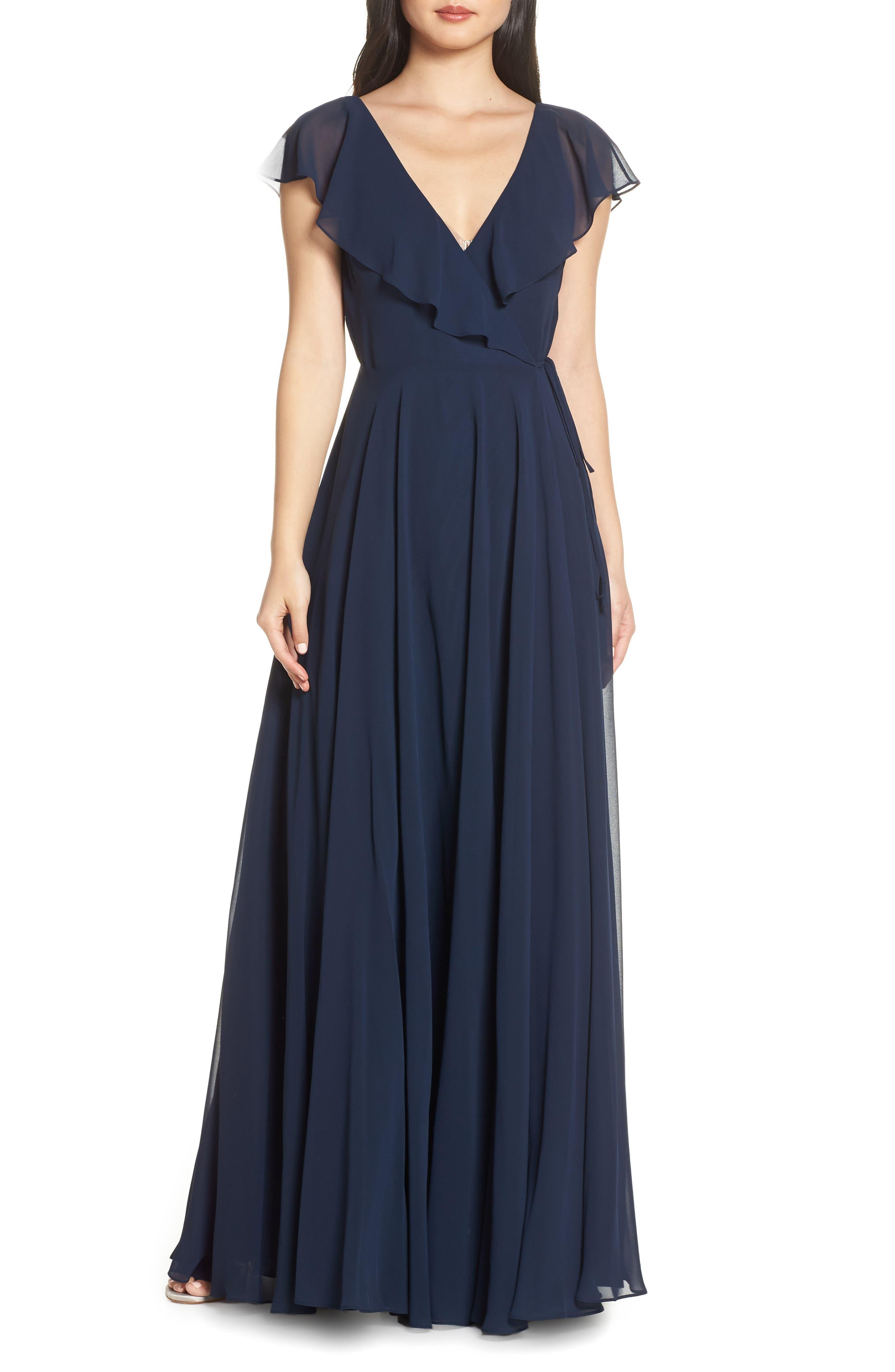 Jenny Yoo Faye Ruffle Wrap Chiffon Evening Dress, Blue