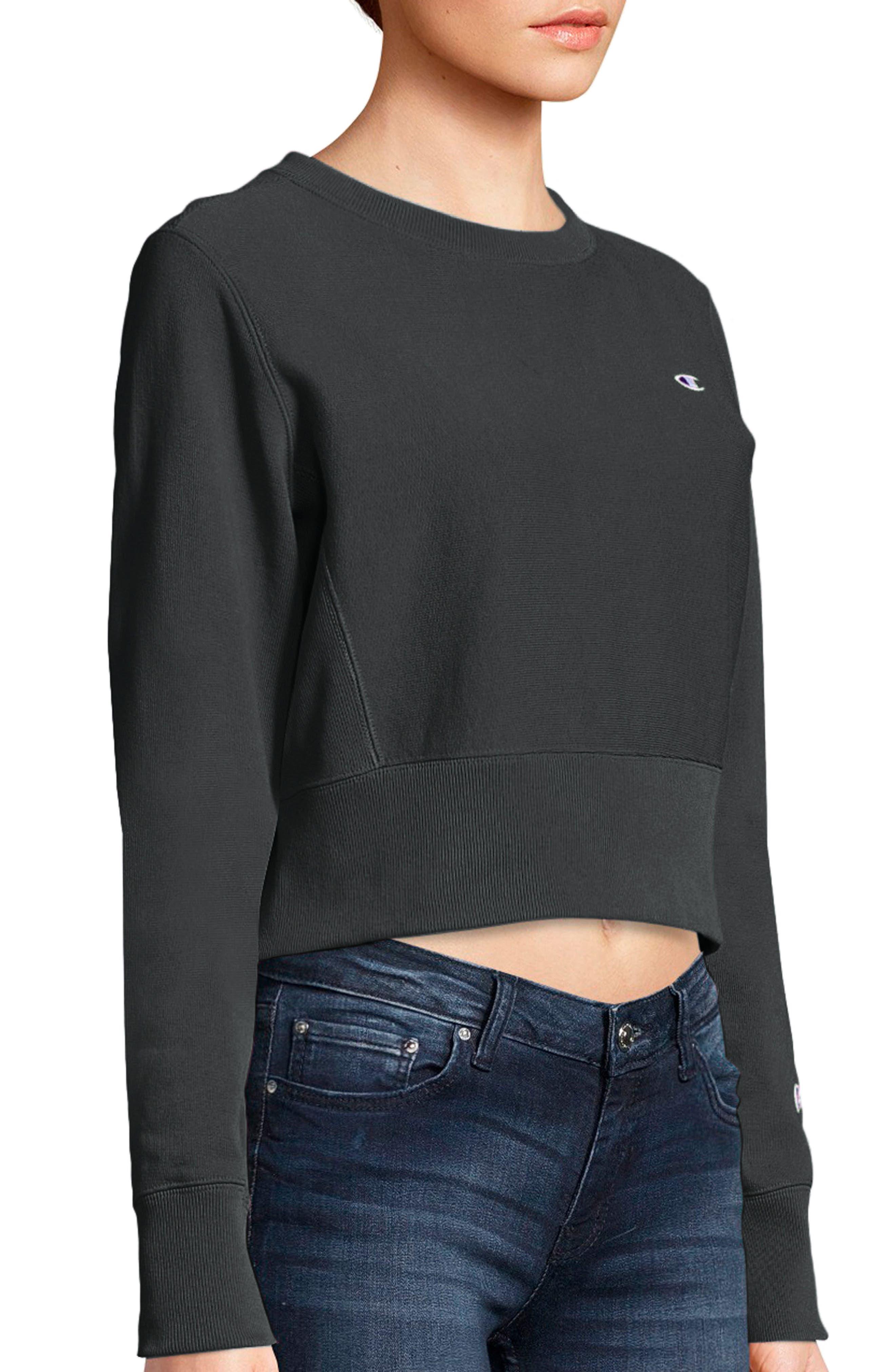 Reverse Weave Crop Sweatshirt,                             Alternate thumbnail 3, color,                             001