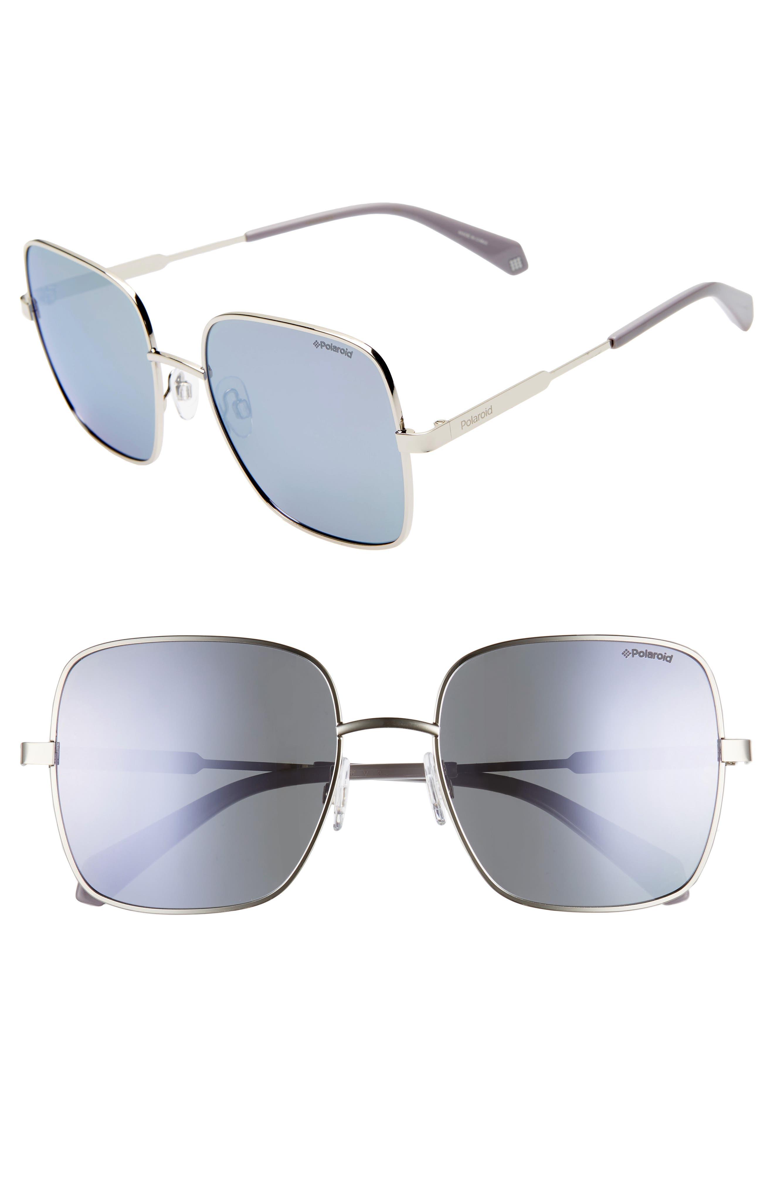 Polaroid 57Mm Polarized Square Sunglasses - Lilac/ Silver