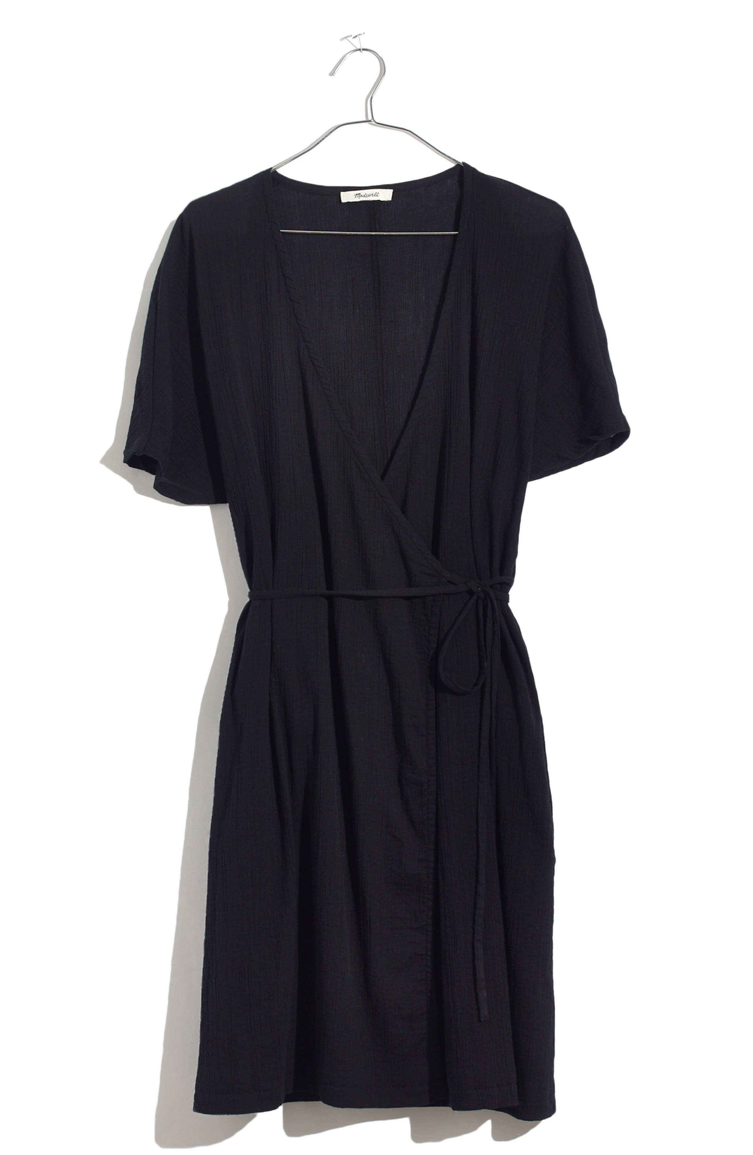 MADEWELL,                             Gauze Wrap Dress,                             Alternate thumbnail 3, color,                             001