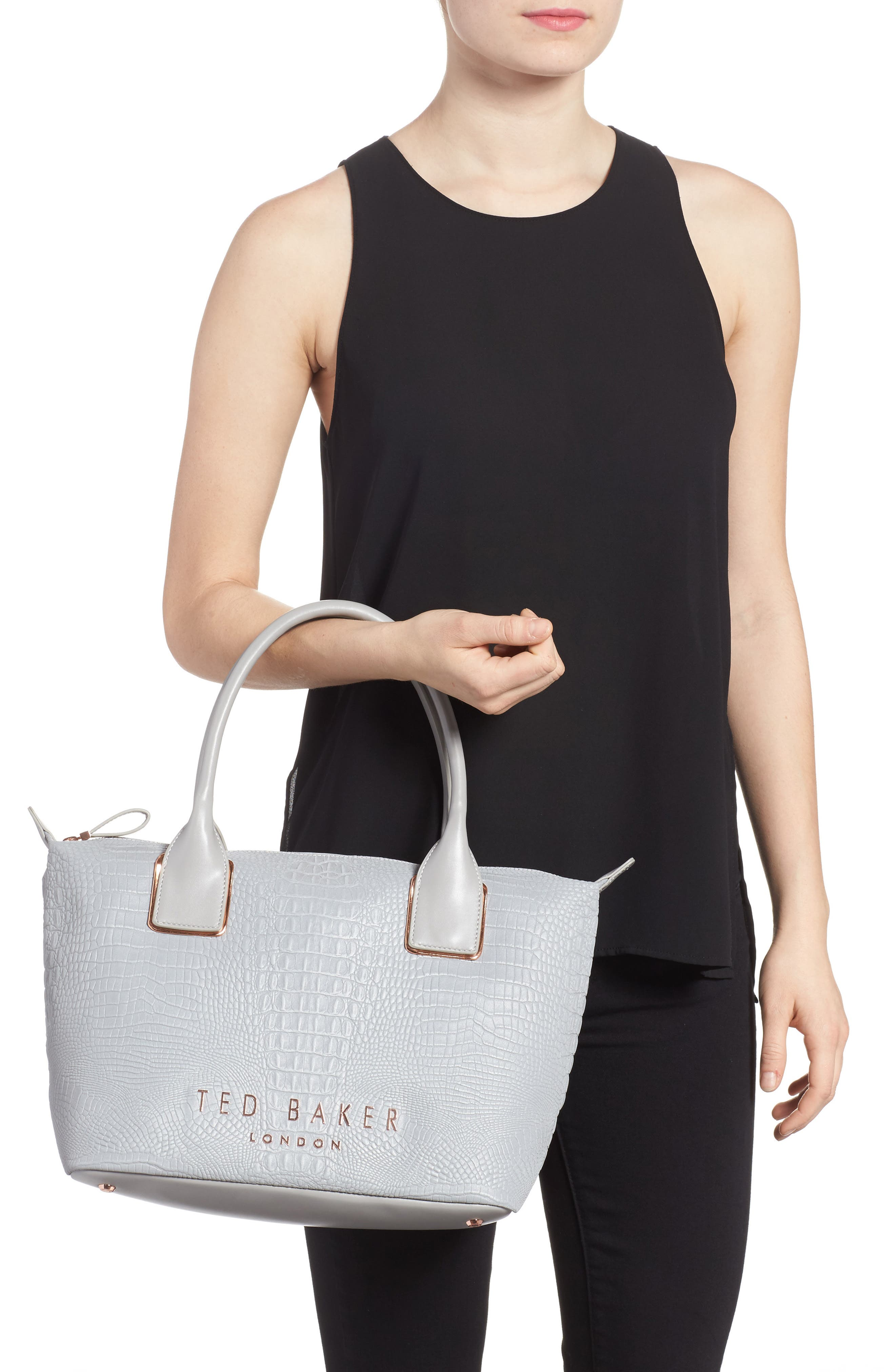 Remus Reflective Croc Embossed Faux Leather Tote,                             Alternate thumbnail 2, color,