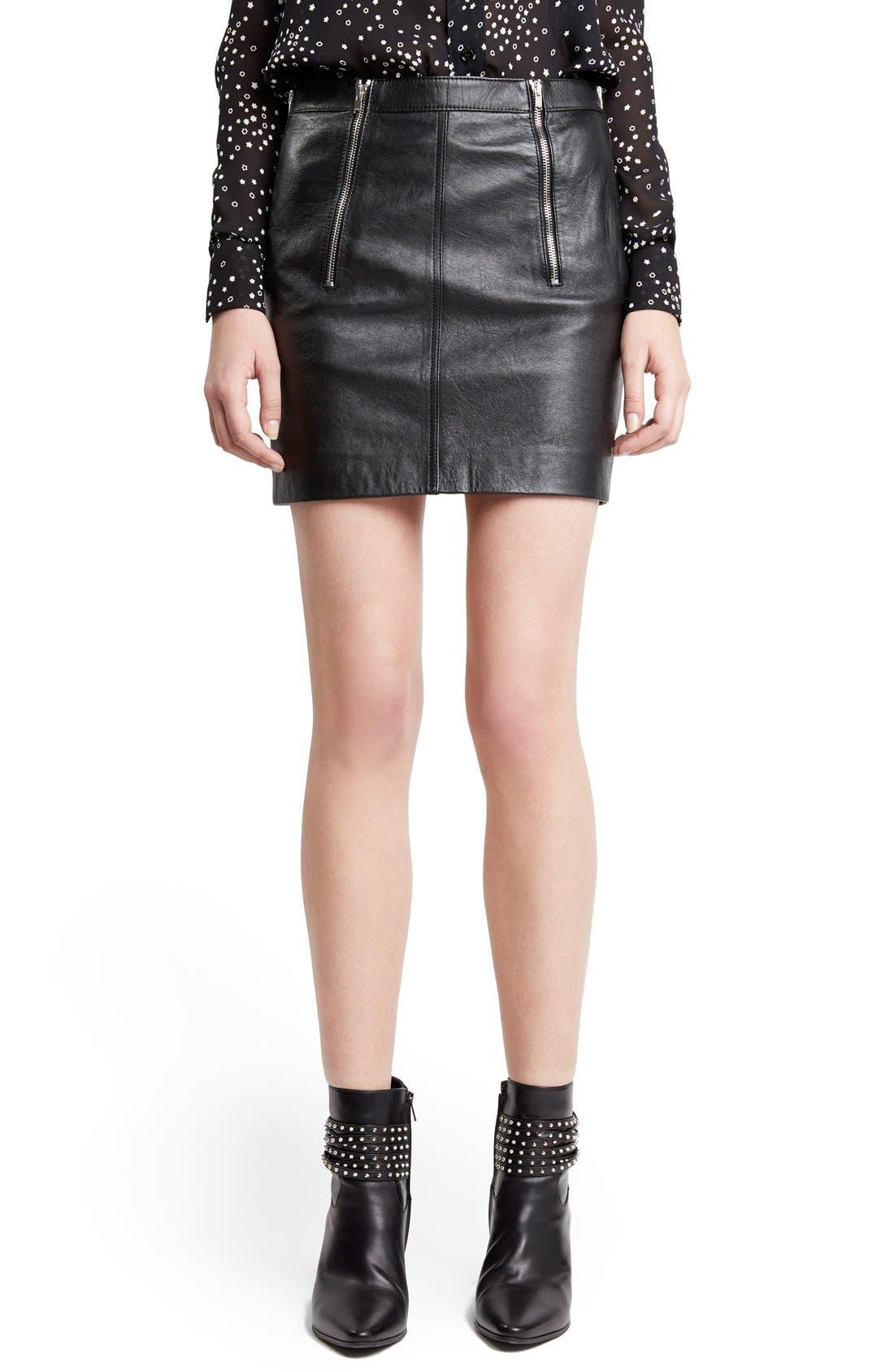 Zip Detail Lambskin Leather Miniskirt,                             Main thumbnail 1, color,                             001