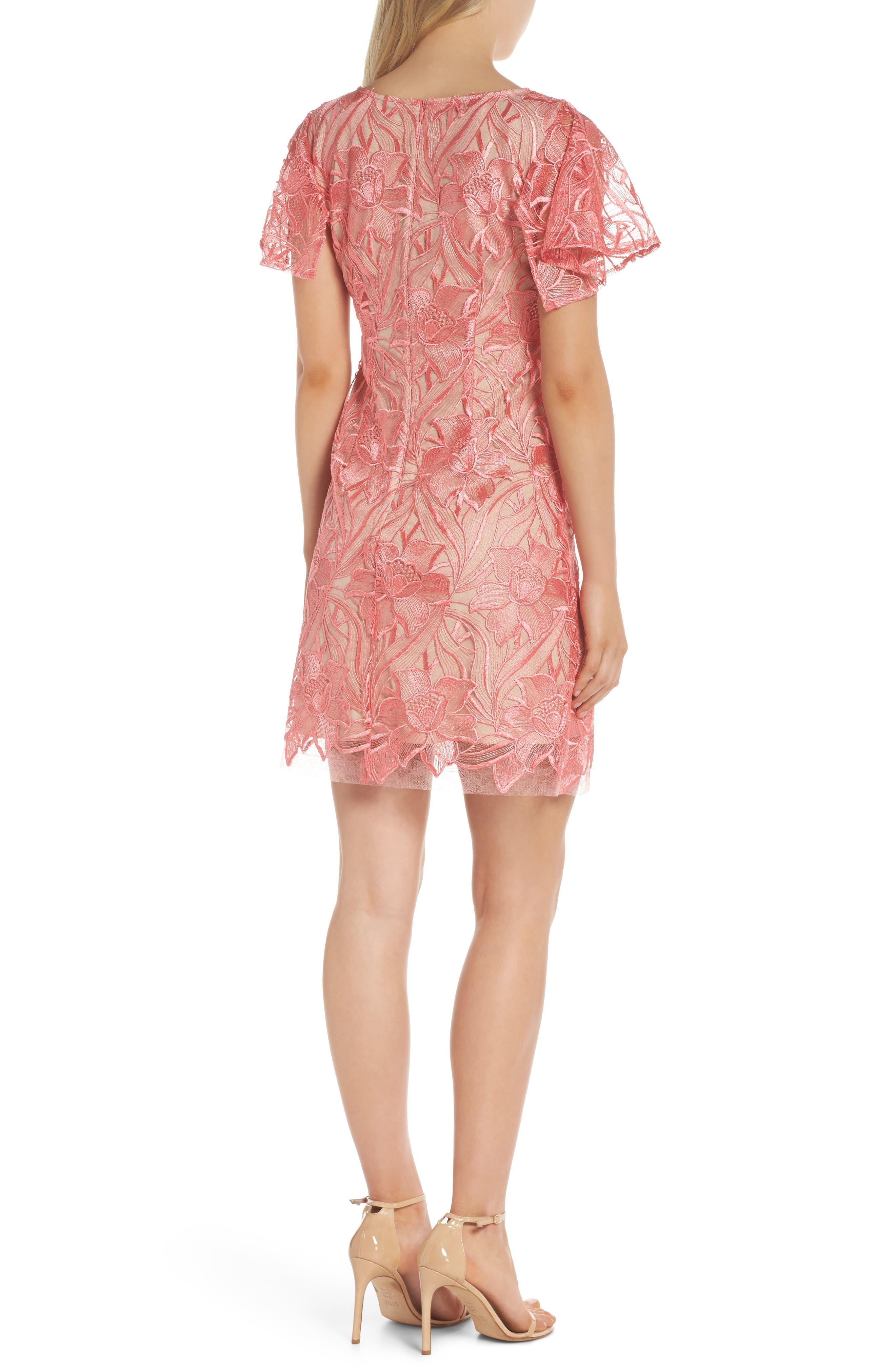 Floral Mesh Lace Shift Dress,                             Alternate thumbnail 2, color,                             950