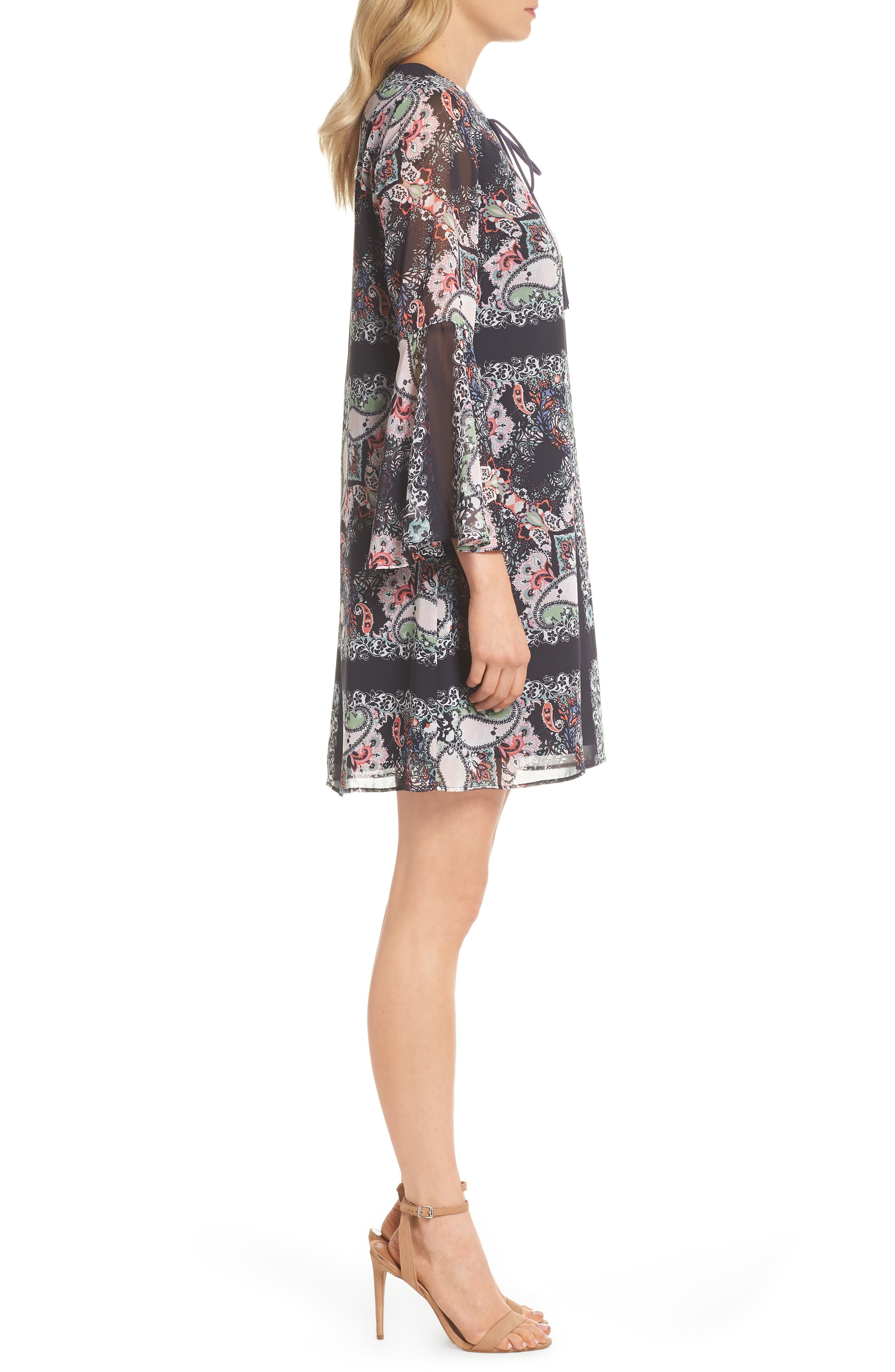 Bell Sleeve Floral Chiffon Shift Dress,                             Alternate thumbnail 3, color,                             490