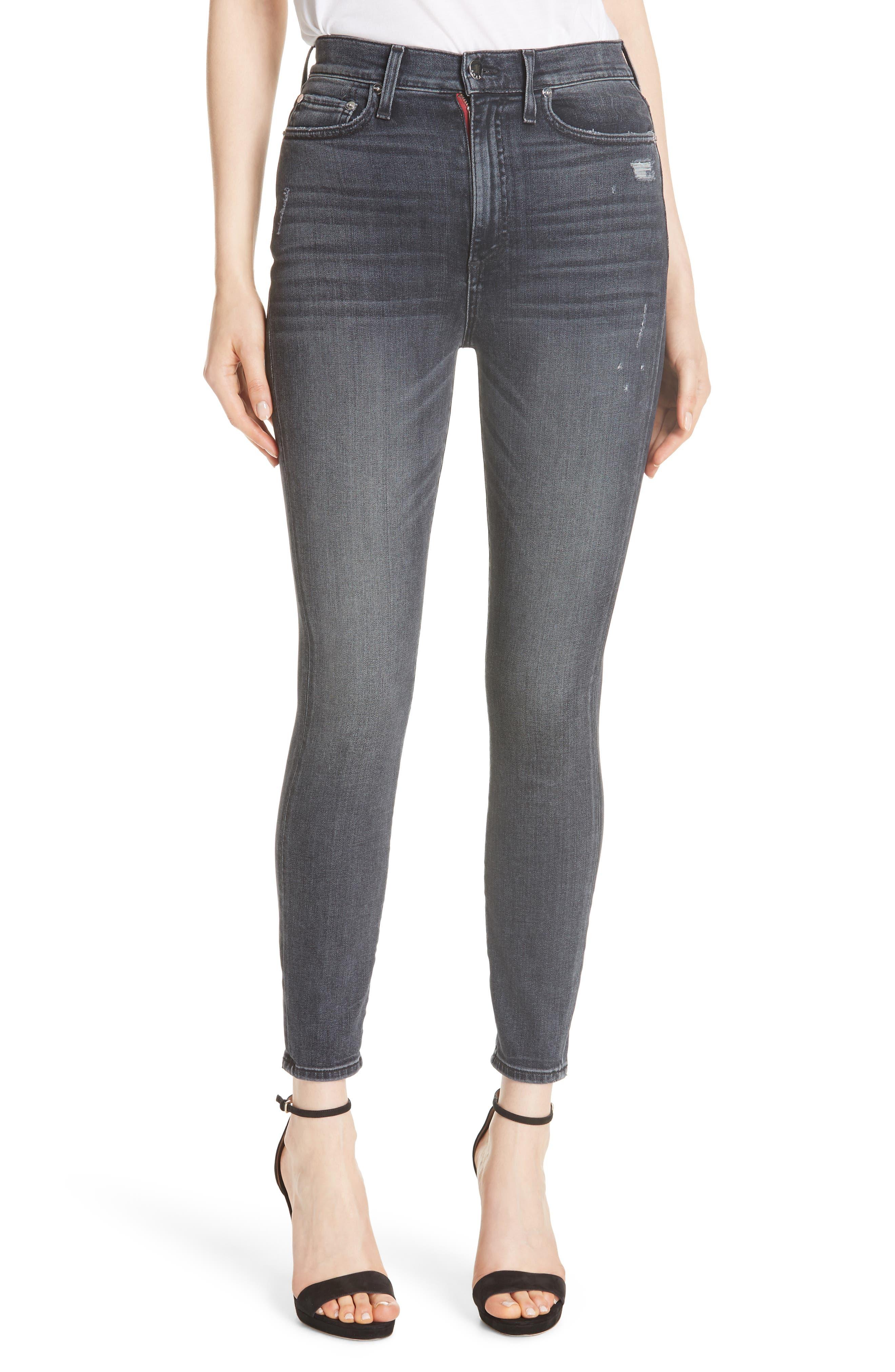 Good High Waist Ankle Skinny Jeans,                         Main,                         color, BLACK MAGIC