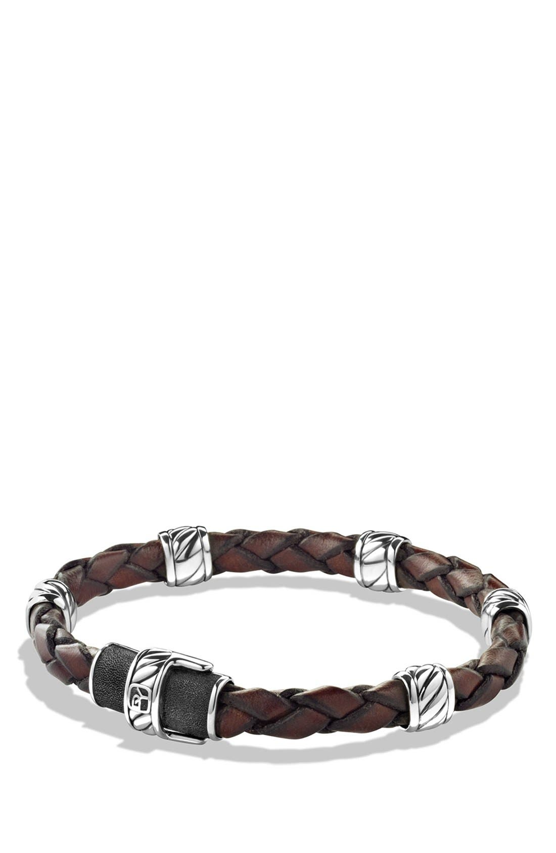 'Cable Classics' Leather Station Bracelet in Brown,                         Main,                         color, 201