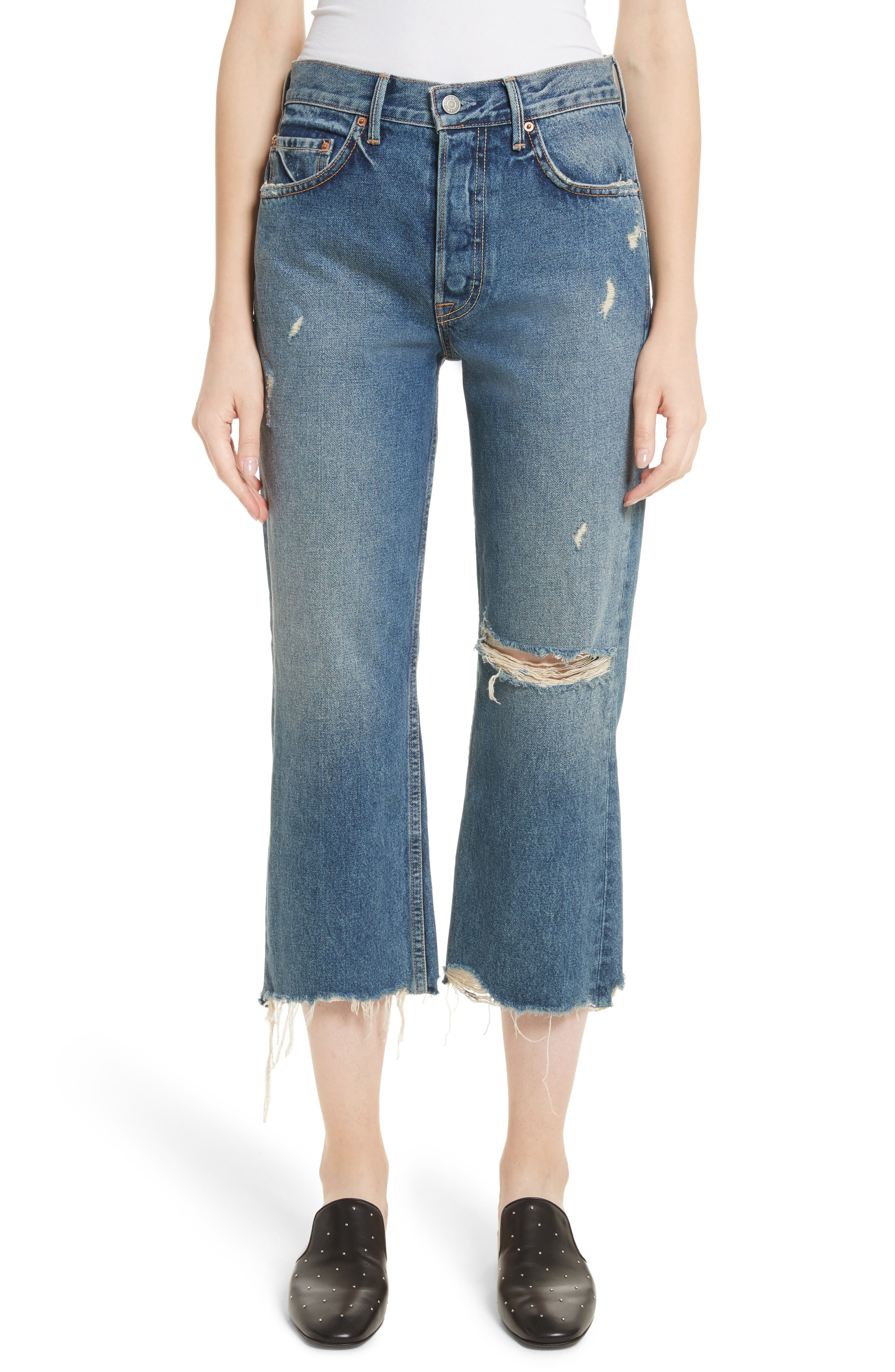 Linda Ripped Rigid High Waist Pop Crop Jeans,                             Main thumbnail 1, color,                             489