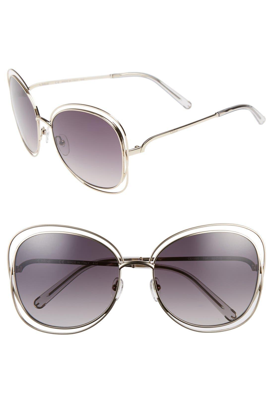 Carlina 60mm Gradient Les Sunglasses,                             Main thumbnail 1, color,                             GOLD/ LIGHT GREY