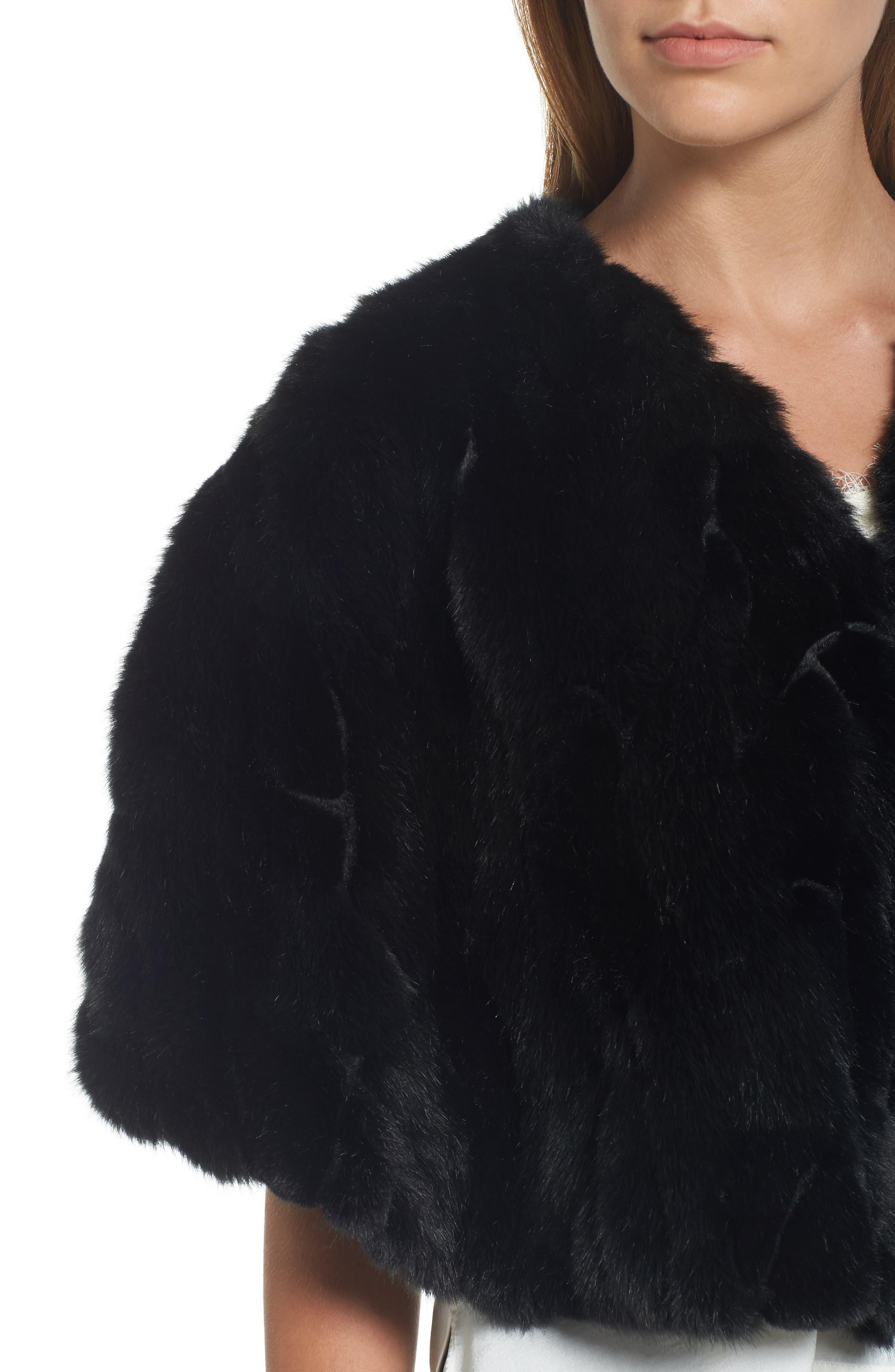 Faux Fur Capelet,                             Alternate thumbnail 4, color,                             001