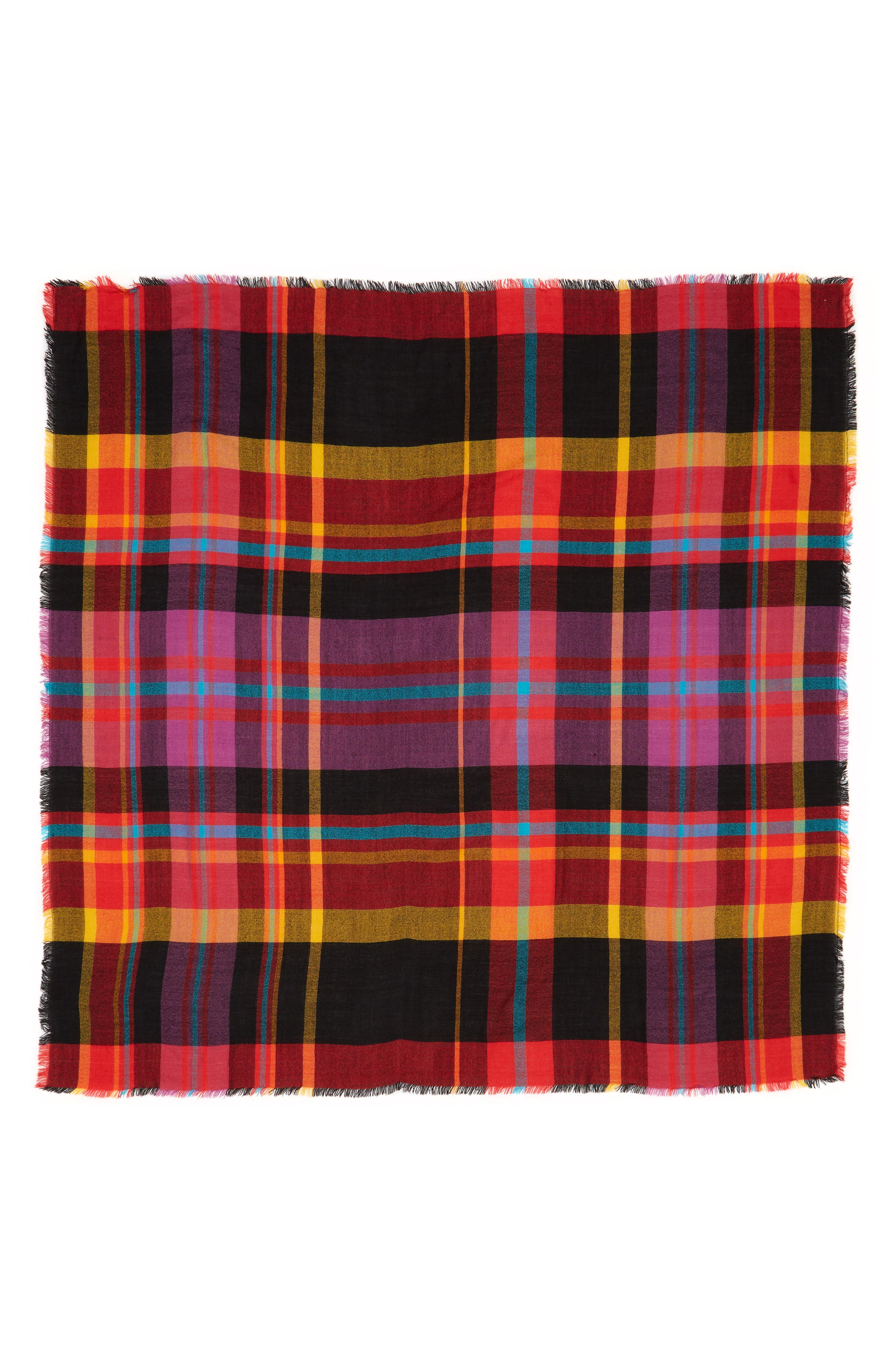 Multicolor Plaid Scarf,                             Alternate thumbnail 2, color,                             RED MULTI