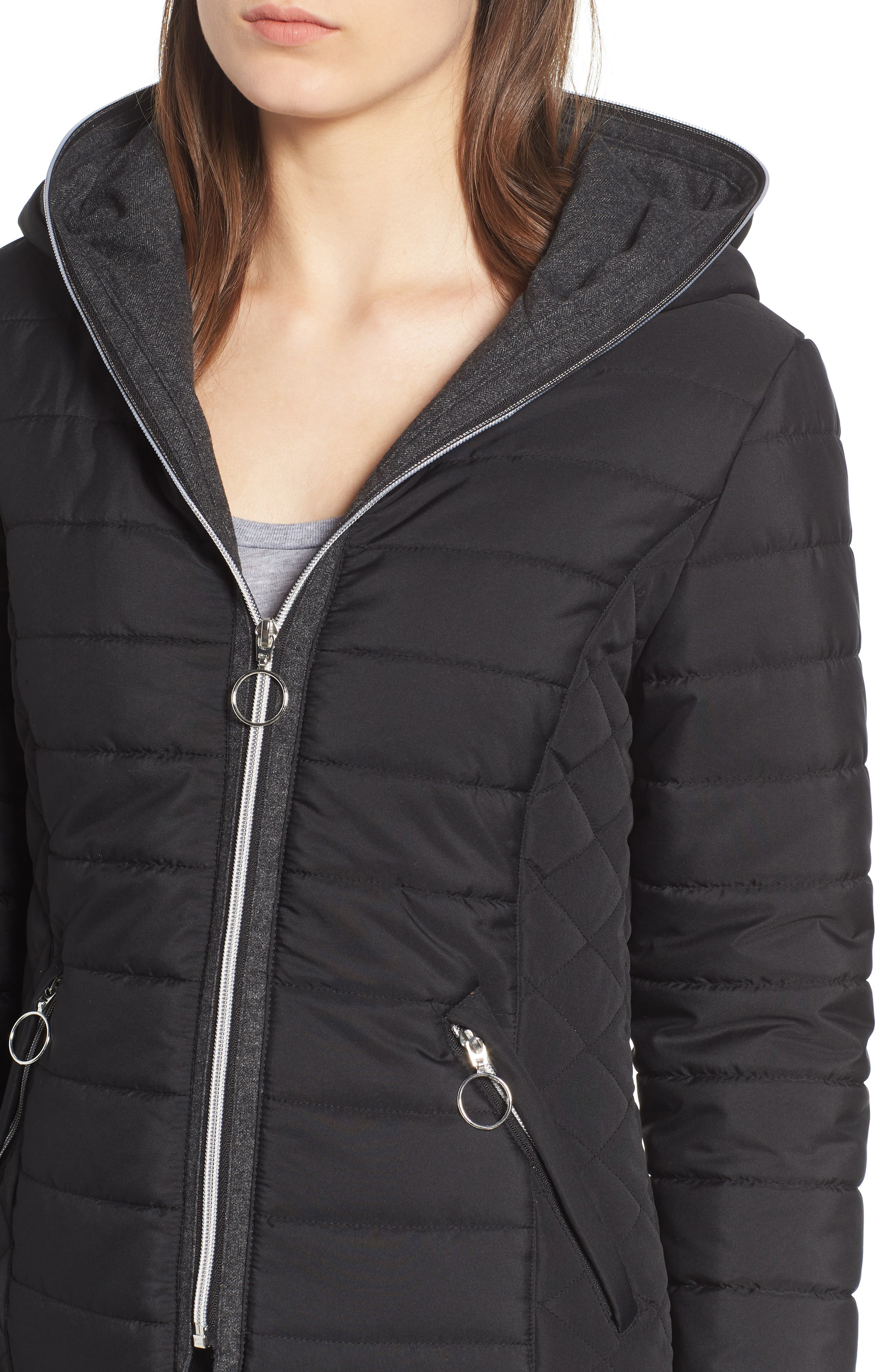 Hooded Quilted Jacket,                             Alternate thumbnail 4, color,                             BLACK