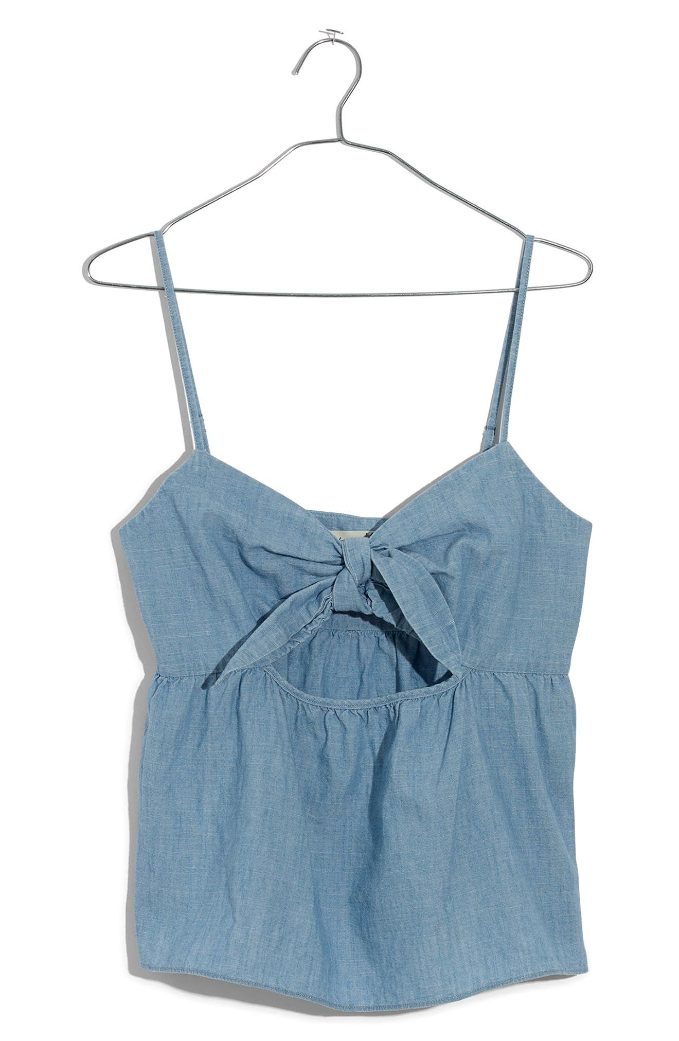Tie Front Keyhole Chambray Camisole,                             Alternate thumbnail 3, color,                             CORINNA WASH