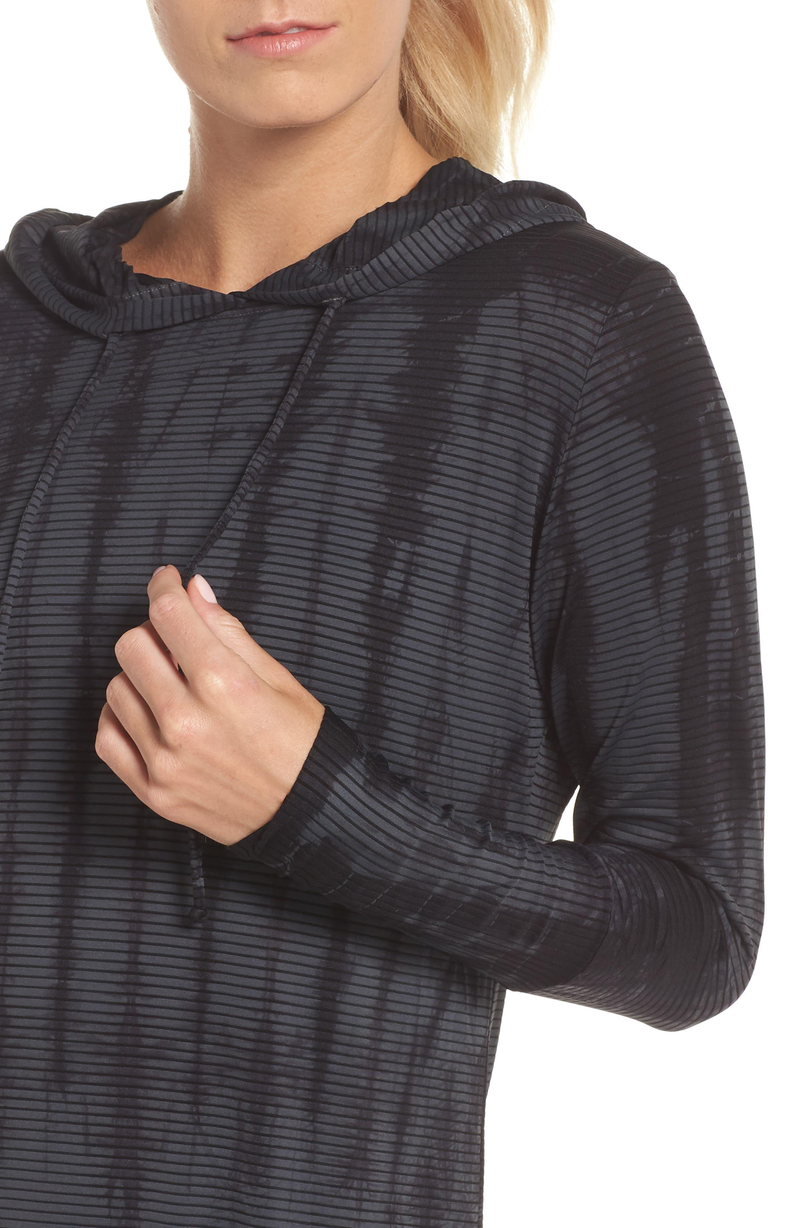 Waves Tie Dye Gray Hooded Pullover,                             Alternate thumbnail 4, color,                             DARK GREY