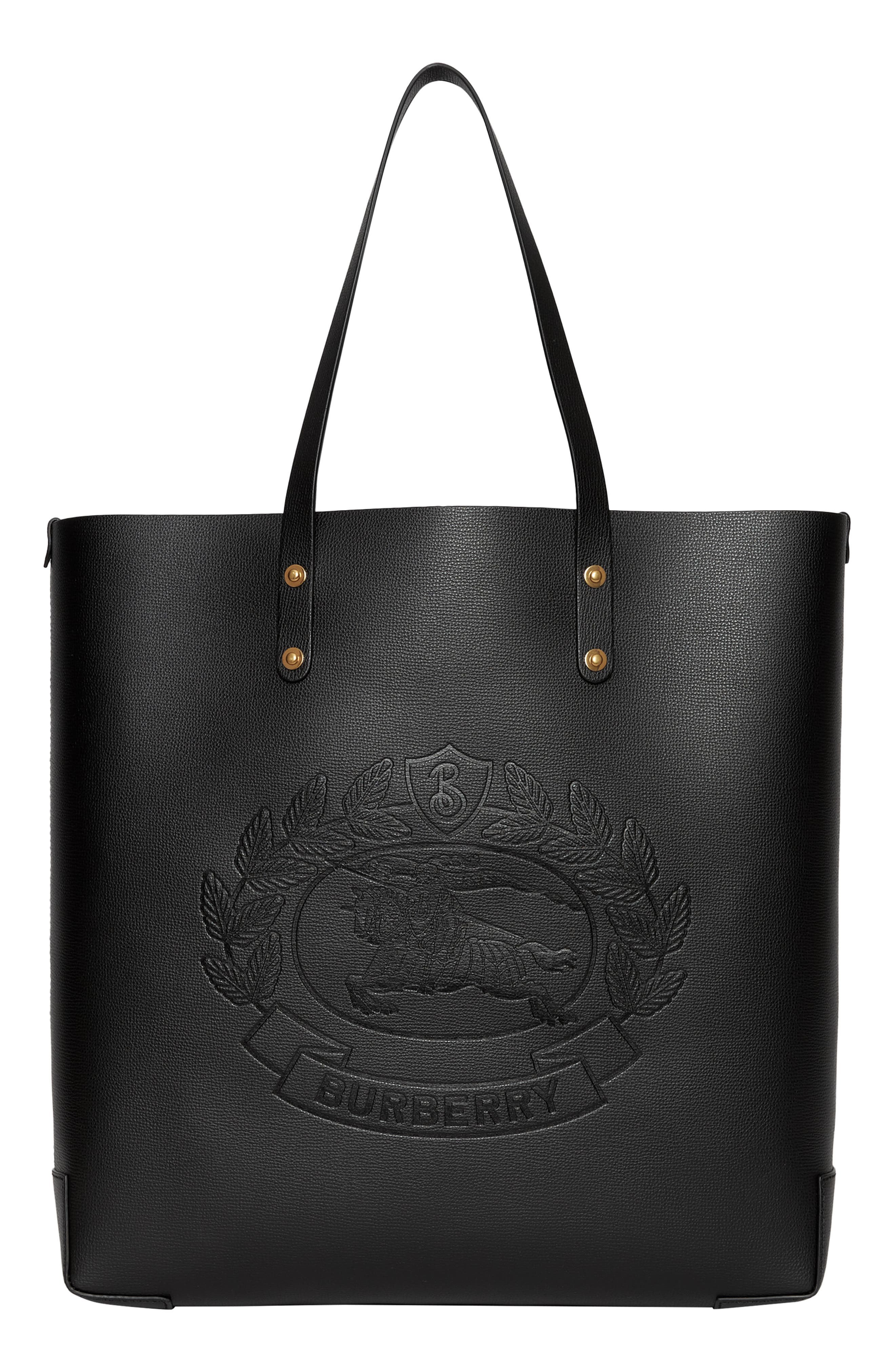 Embossed Crest Large Leather Tote,                         Main,                         color, BLACK