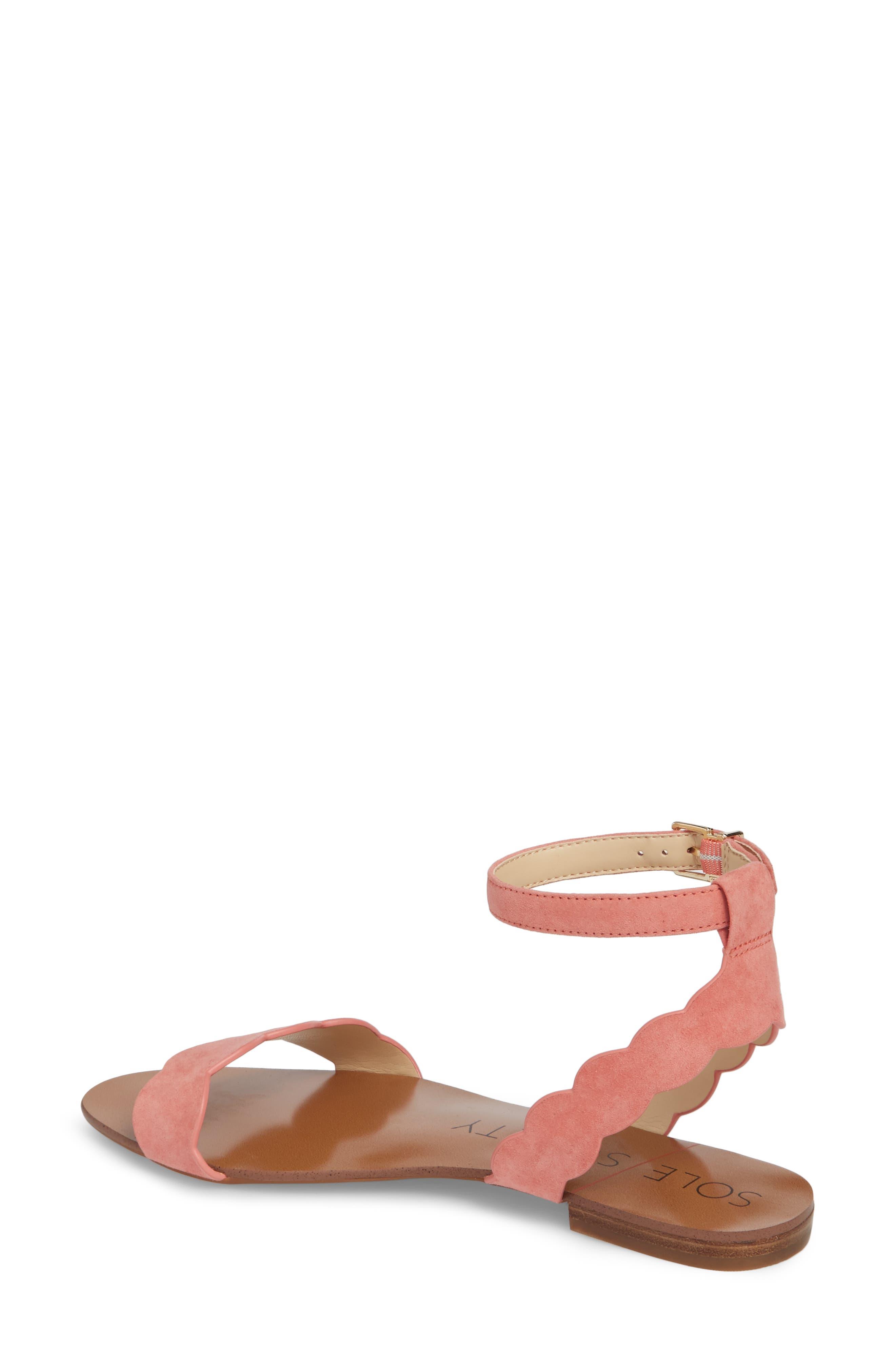 'Odette' Scalloped Ankle Strap Flat Sandal,                             Alternate thumbnail 9, color,