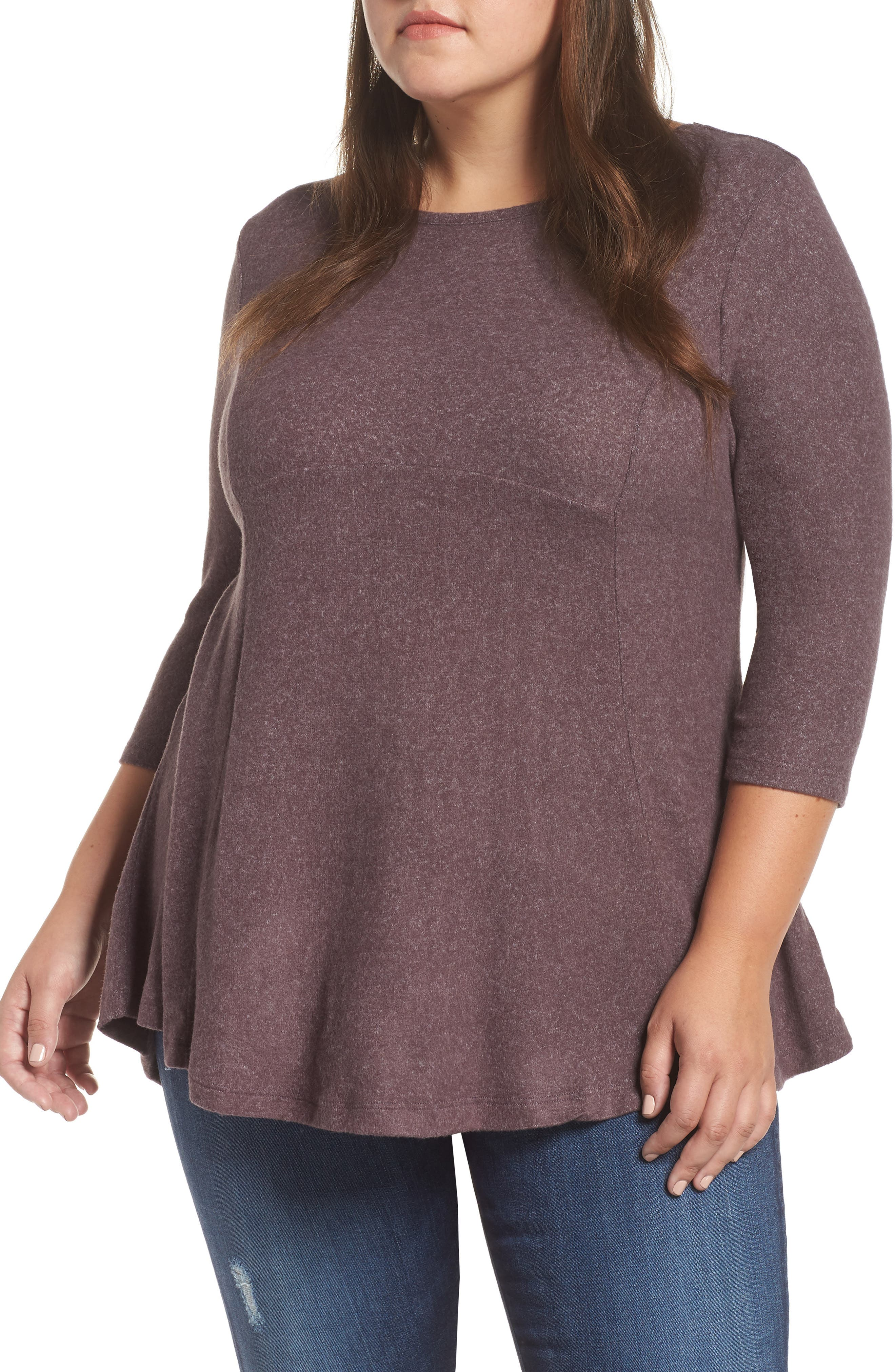 BOBEAU Brushed Knit Babydoll Top in Peppercorn