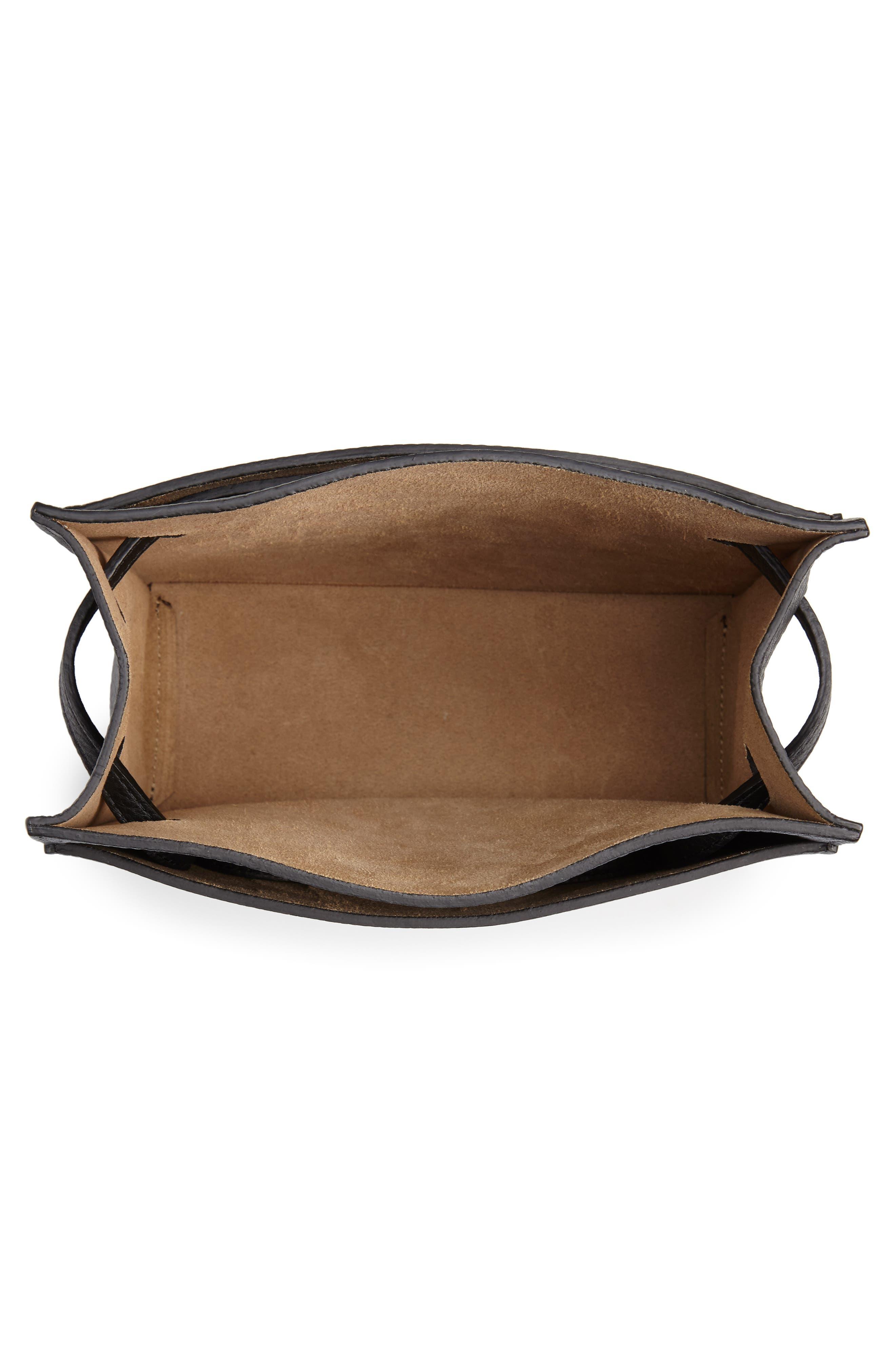 Kit Leather Convertible Shoulder Bag,                             Alternate thumbnail 5, color,                             TRUE BLACK