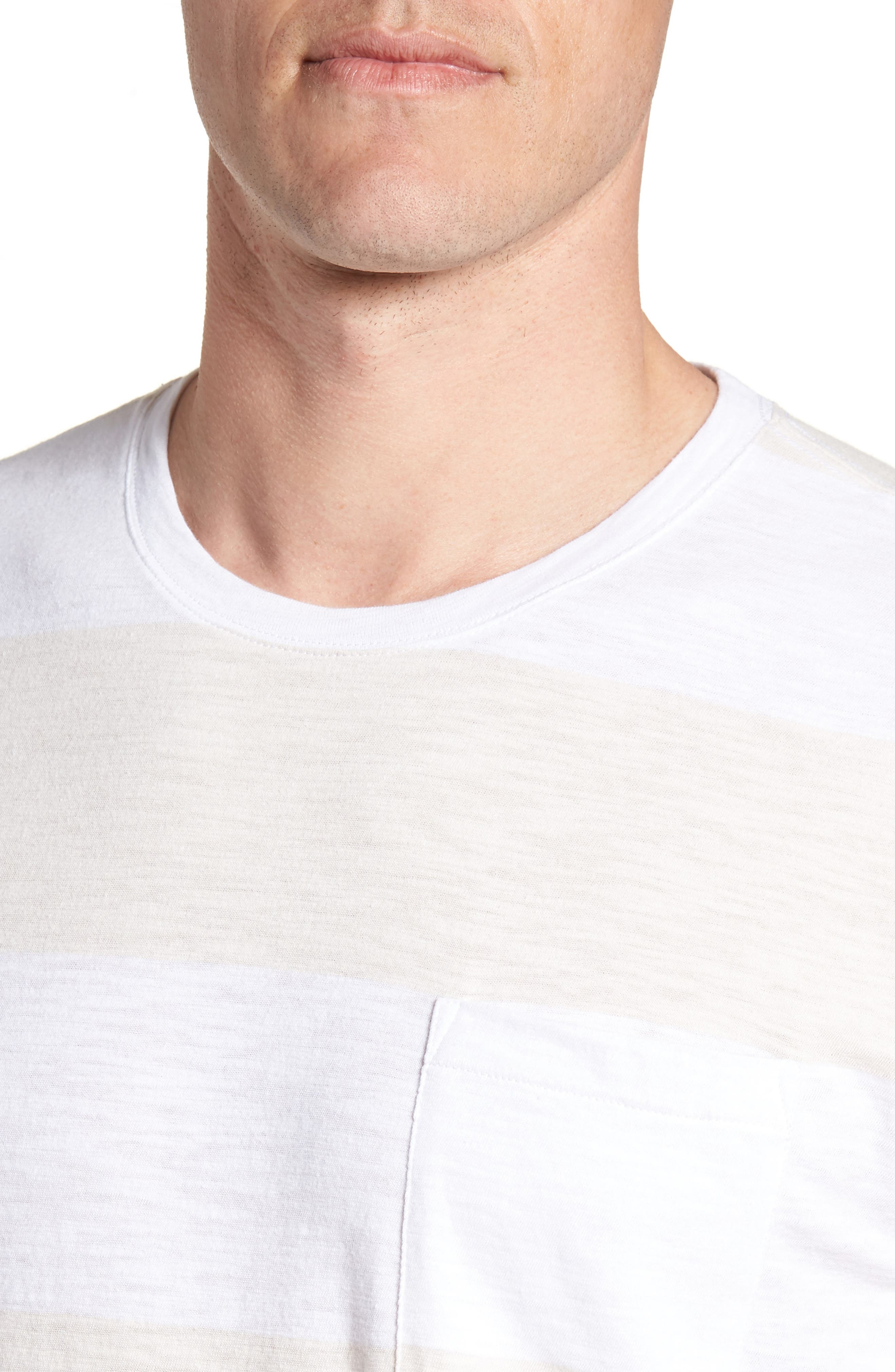 Block Stripe Slim Fit Pocket T-Shirt,                             Alternate thumbnail 4, color,                             100