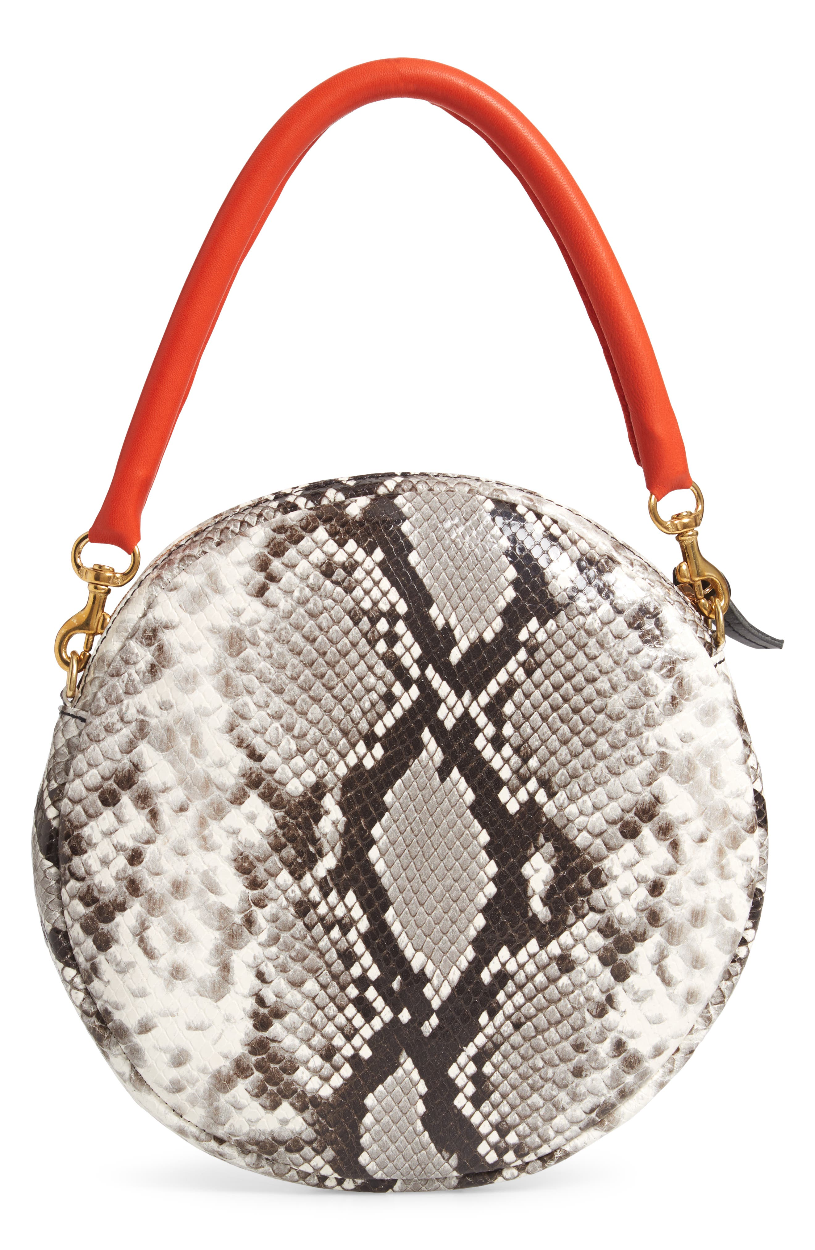 Python Embossed Leather Circle Clutch,                             Alternate thumbnail 3, color,                             001