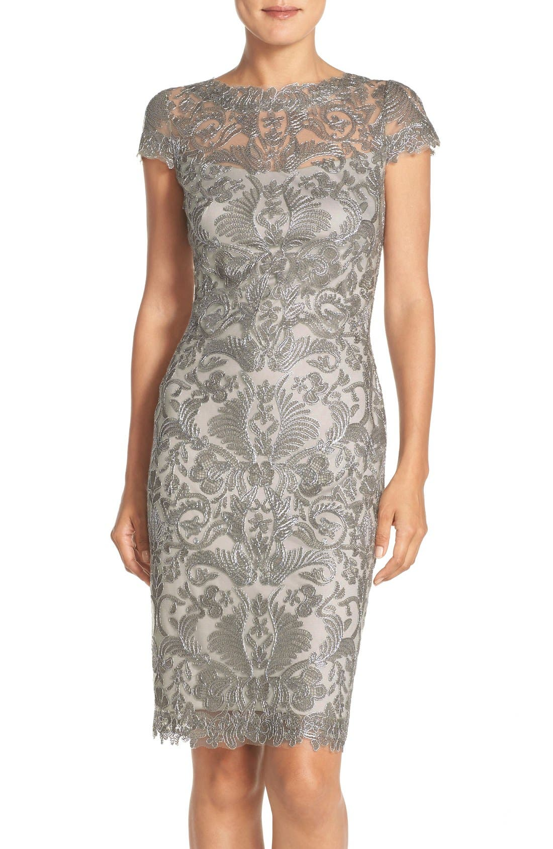 Illusion Yoke Lace Sheath Dress,                             Main thumbnail 6, color,