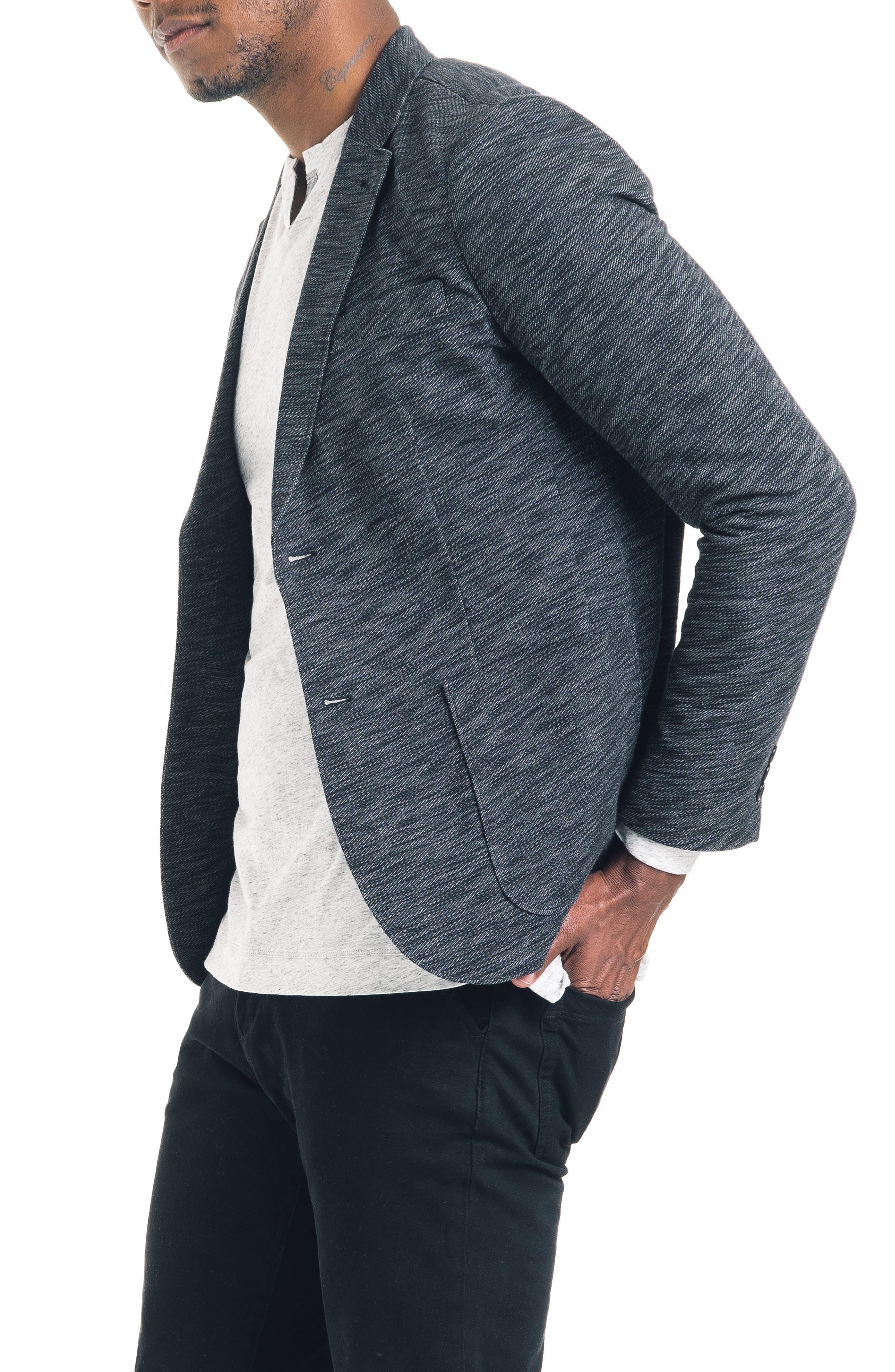 Slim Fit Vintage Twill Knit Blazer,                             Alternate thumbnail 3, color,                             BLACK / GREY HEATHER