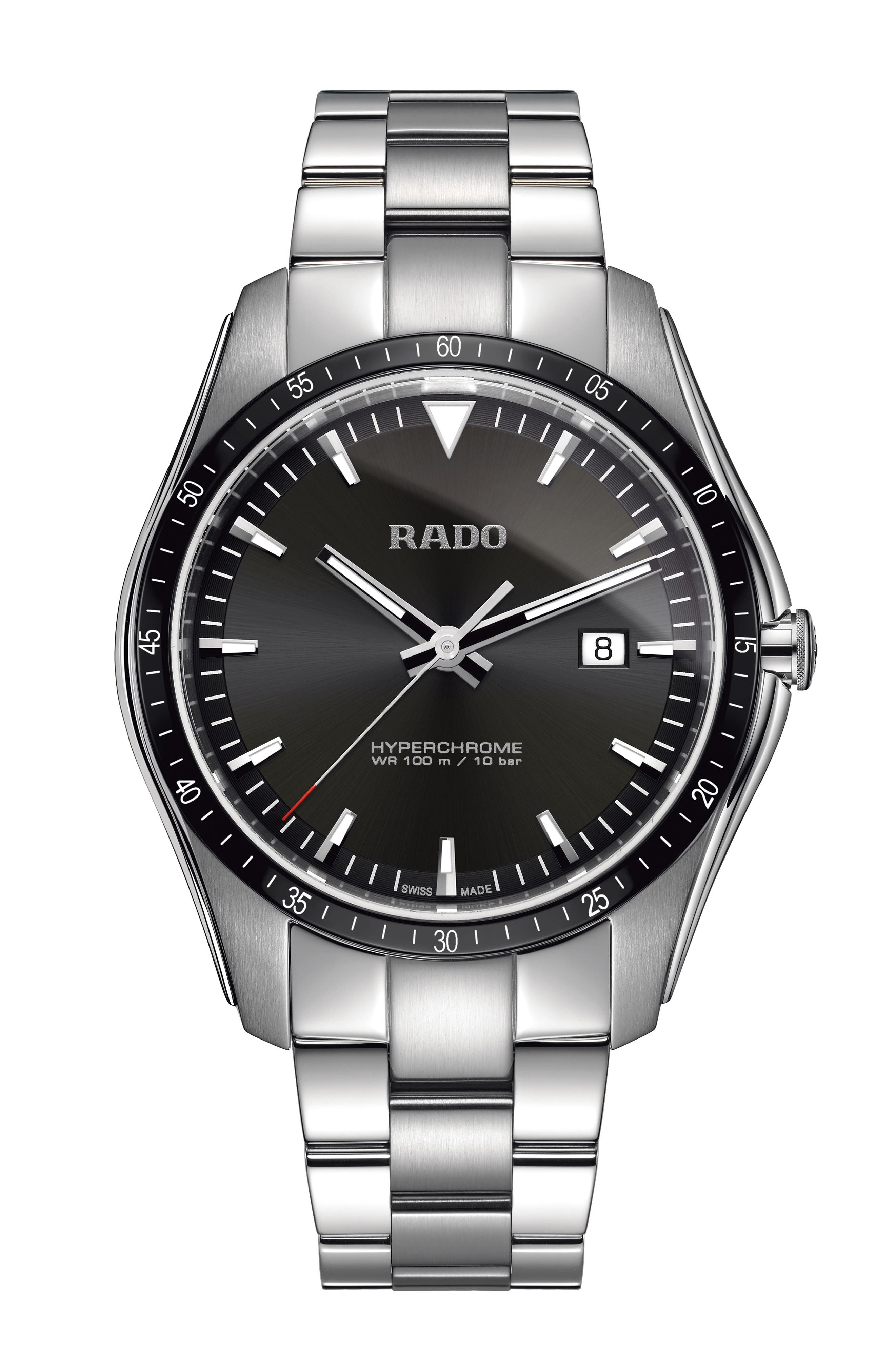 RADO Hyperchrome Bracelet Watch, 45Mm in Silver/ Black