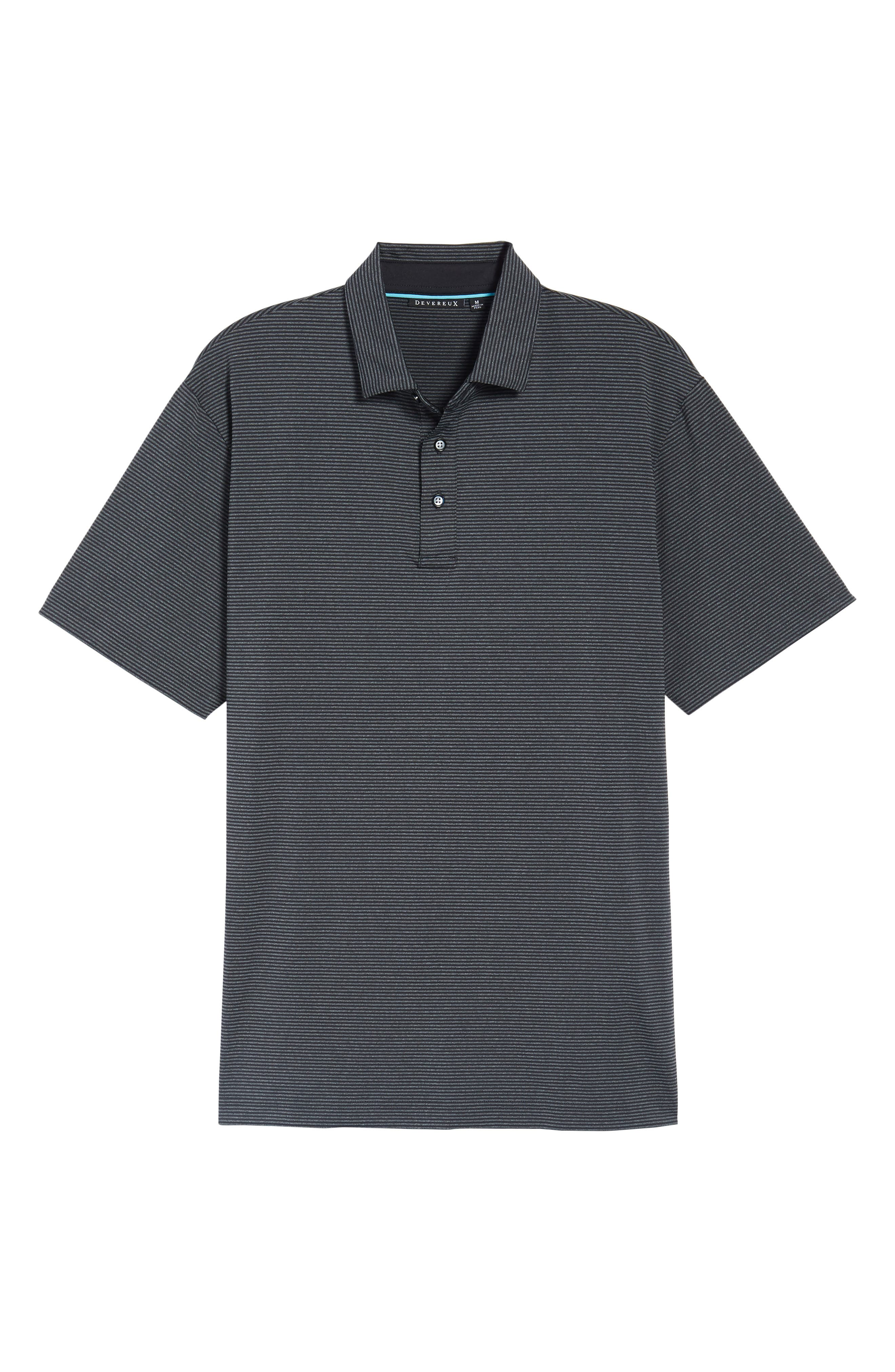 Oracle Stripe Jersey Polo,                             Alternate thumbnail 6, color,                             CAVIAR/ CHARCOAL