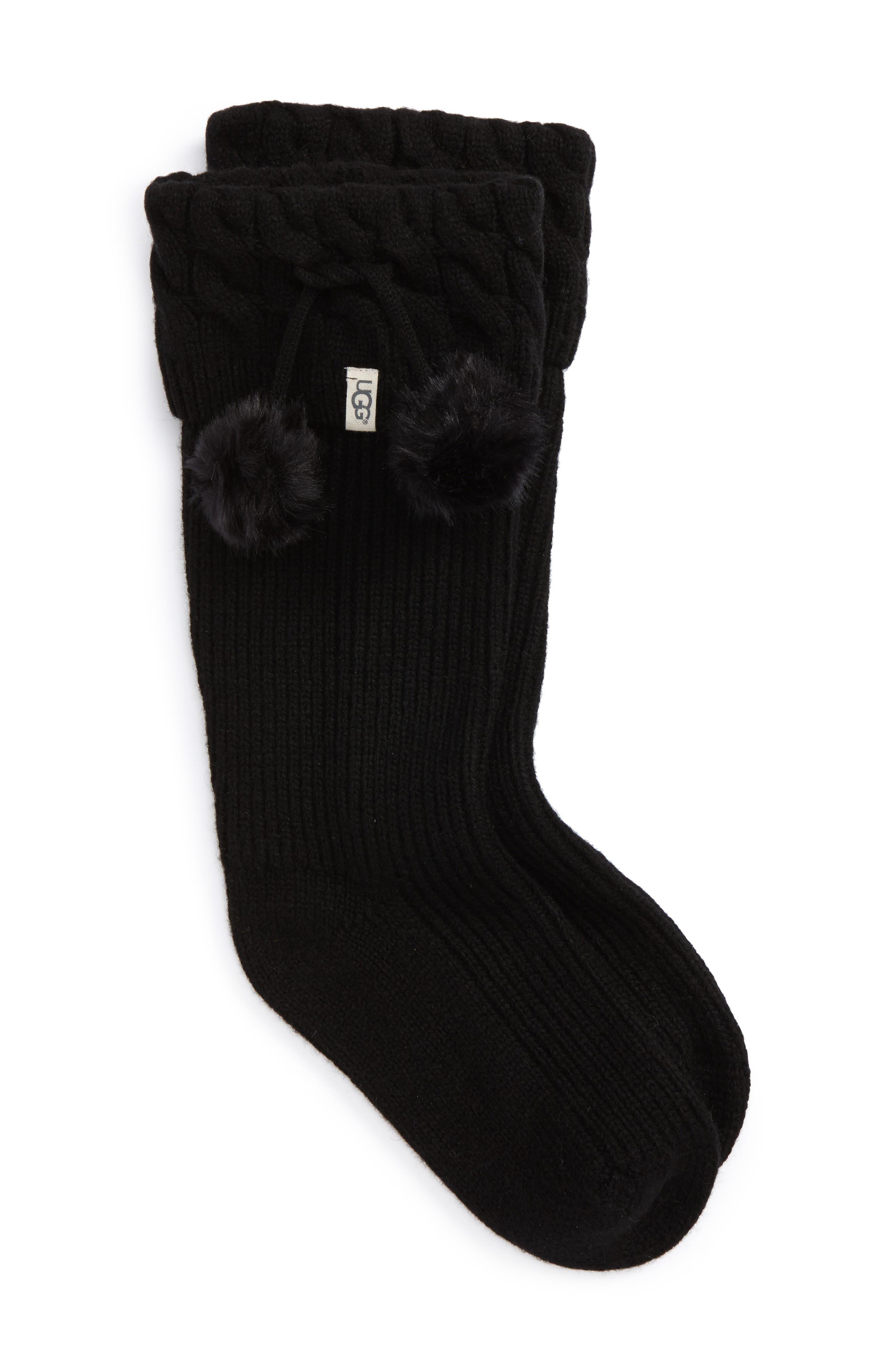 UGG UGGpure<sup>™</sup> Pompom Tall Rain Boot Sock,                         Main,                         color, BLACK WOOL