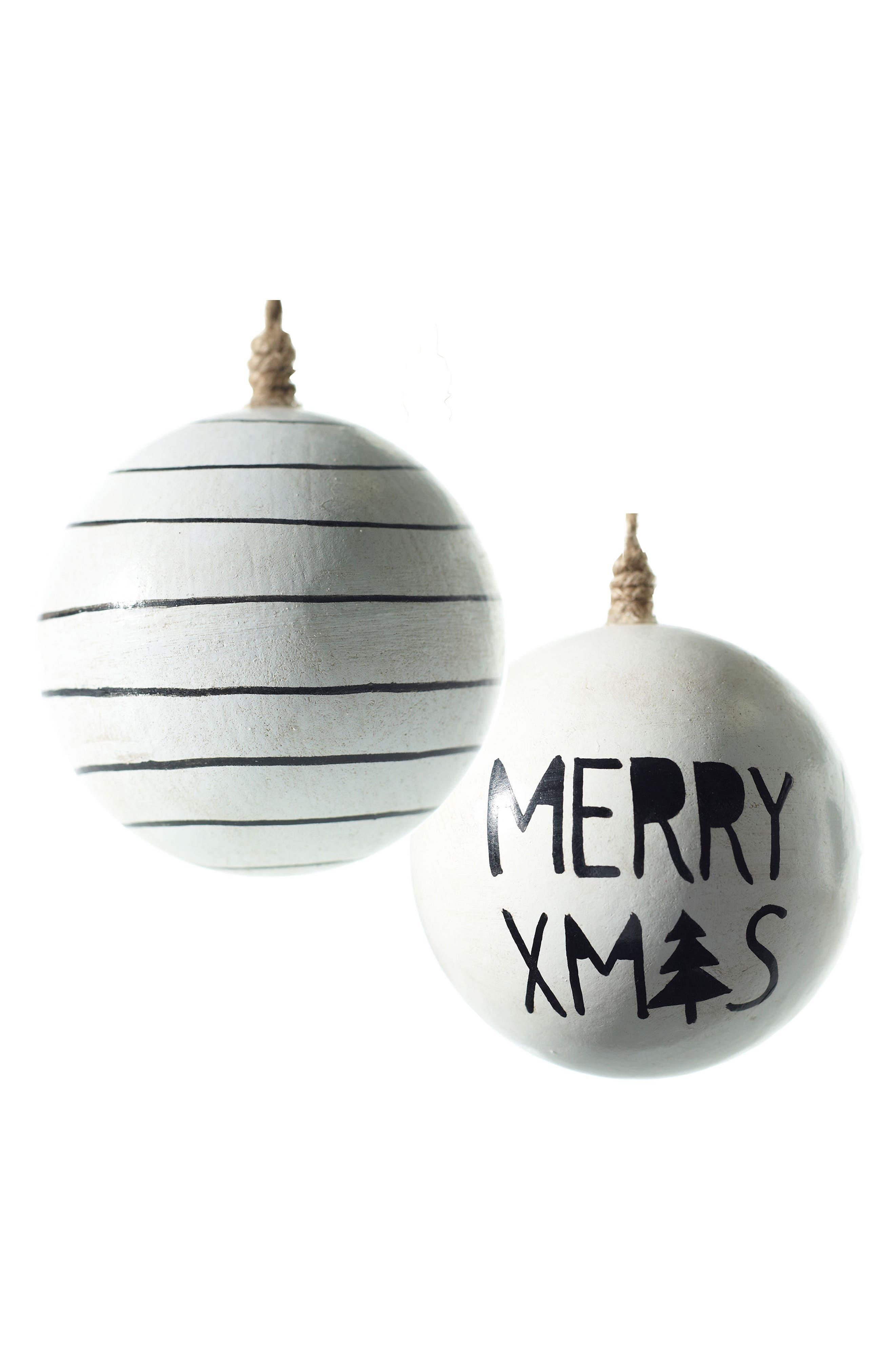 Merry Xmas Set of 2 Wooden Ball Ornaments,                         Main,                         color, 100