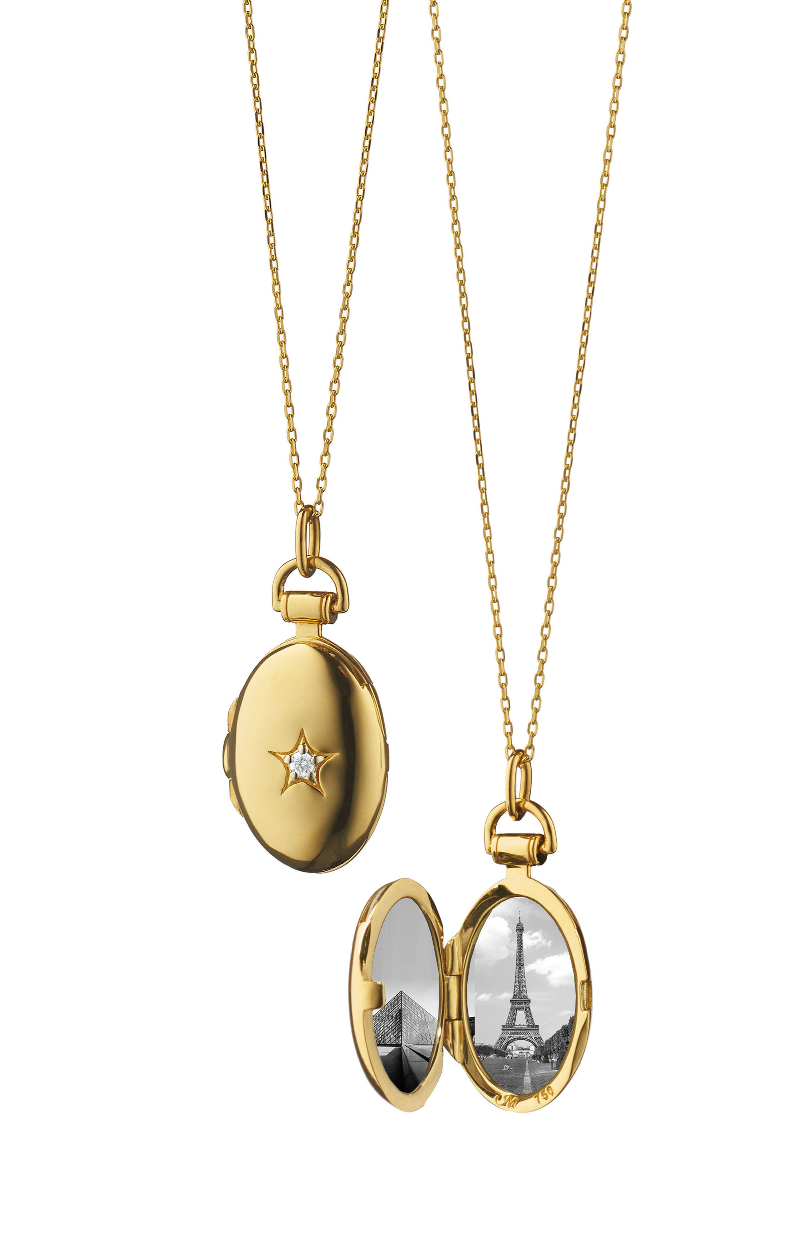 Petite Oval Gold Locket Necklace,                         Main,                         color, 18K YELLOW GOLD